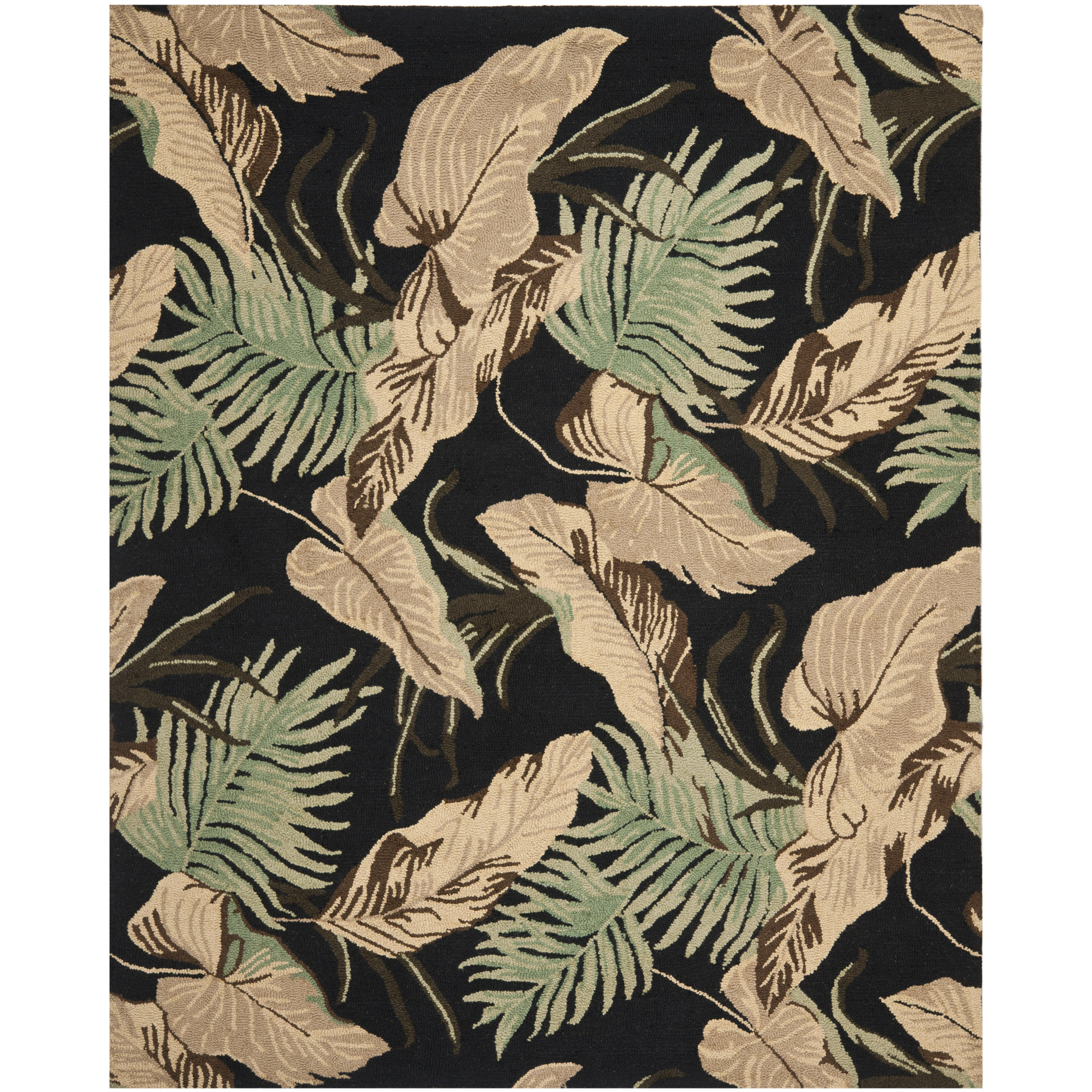 Bay Isle Home Dixie Black Floral Area Rug
