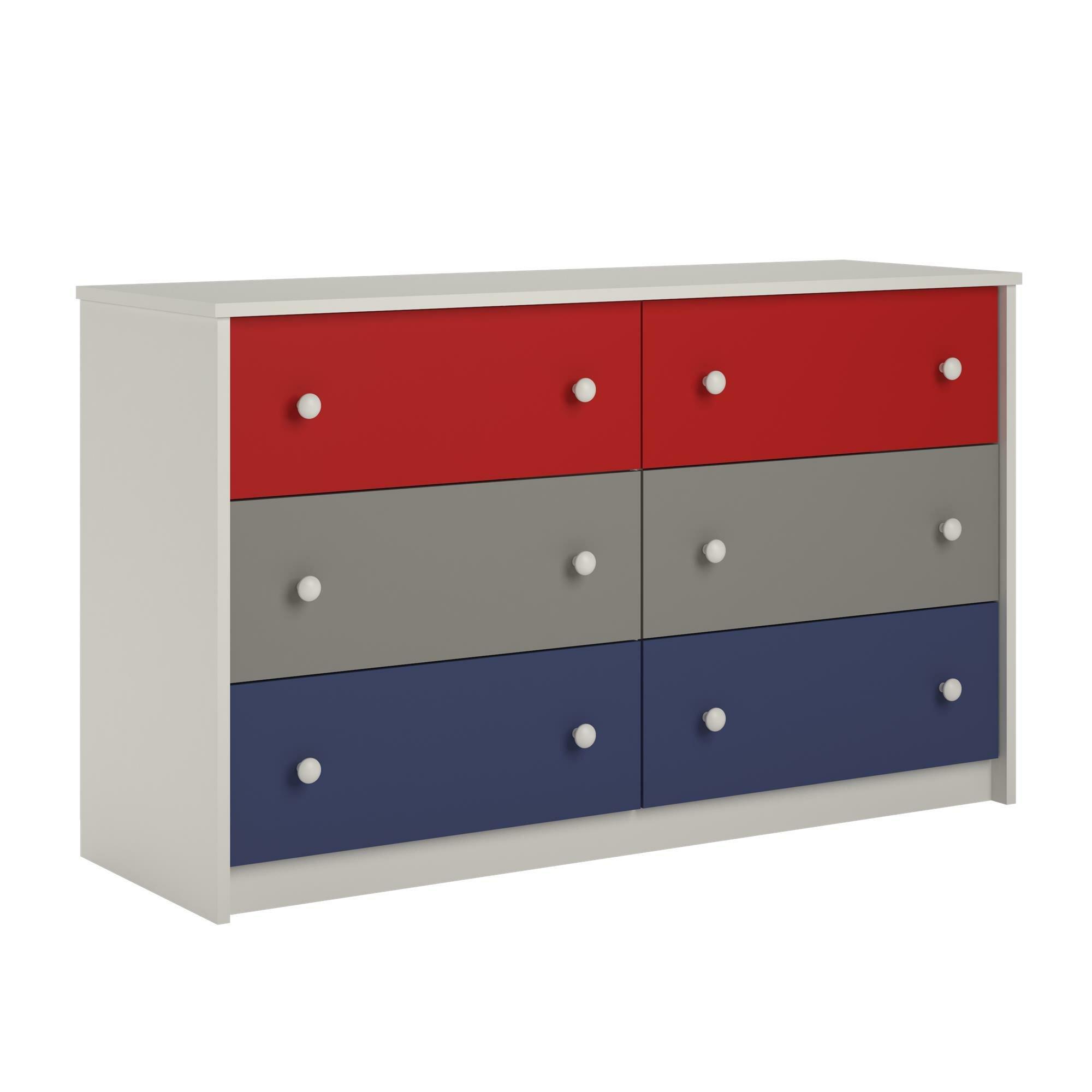 Zoomie kids nola 6 drawer double dresser reviews wayfair for 1 door 6 drawer chest