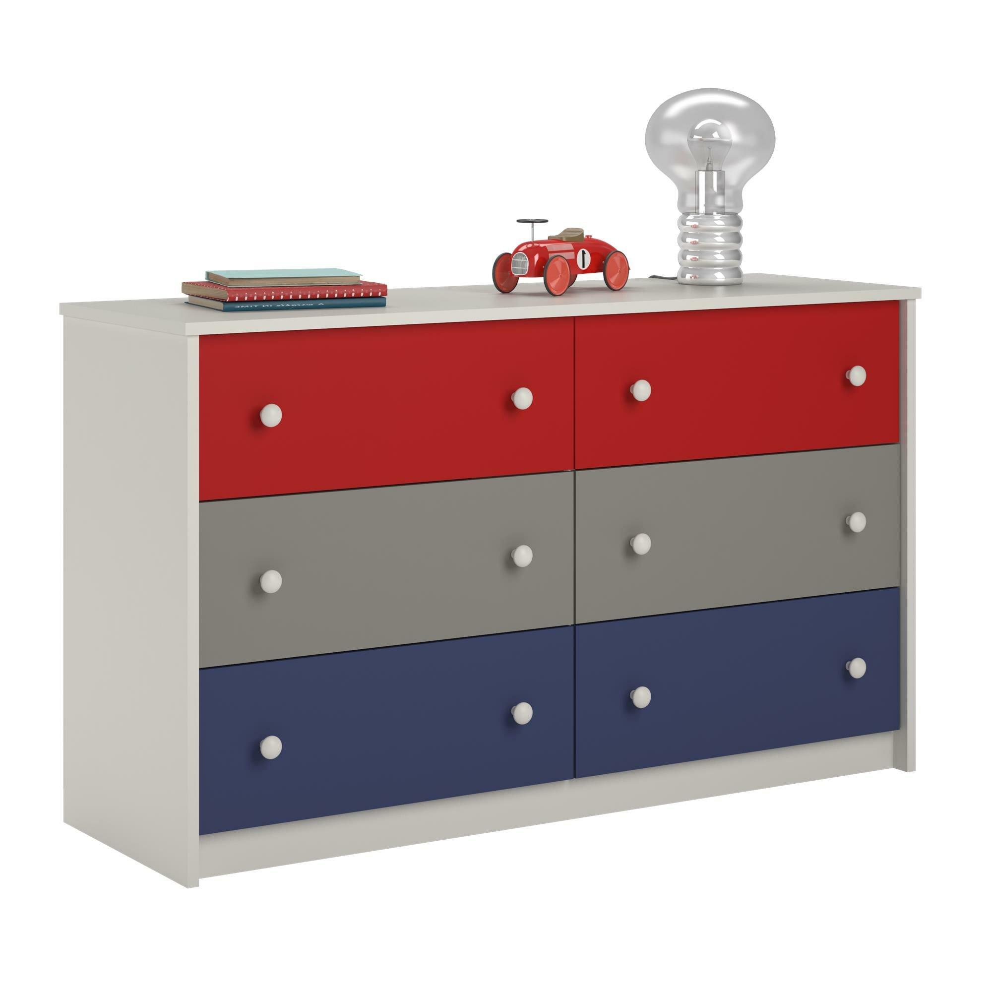 Zoomie kids nola 6 drawer dresser reviews wayfair for 1 door 6 drawer chest