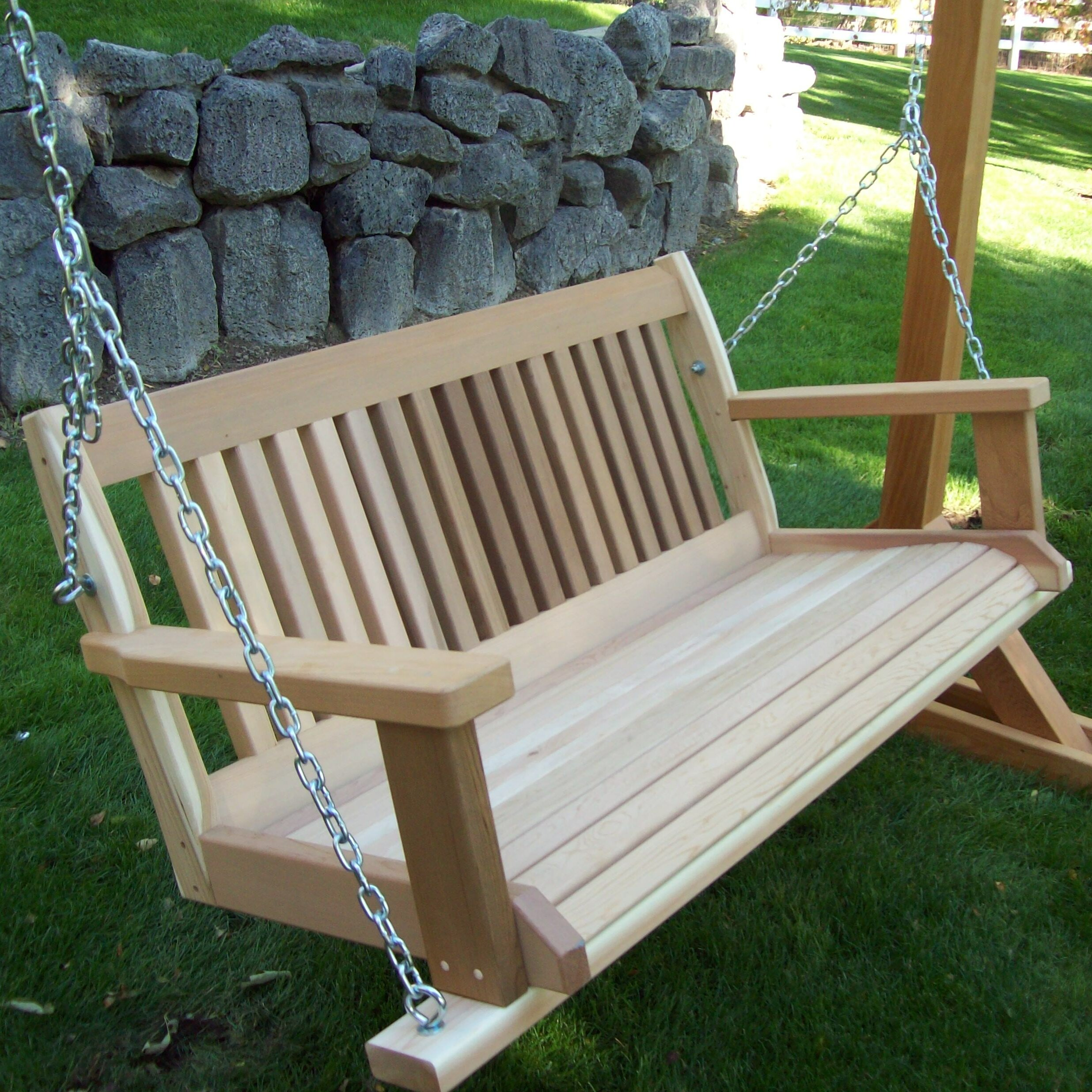 Woodcountry cabbage hill porch swing wayfair for How to build a swing chair