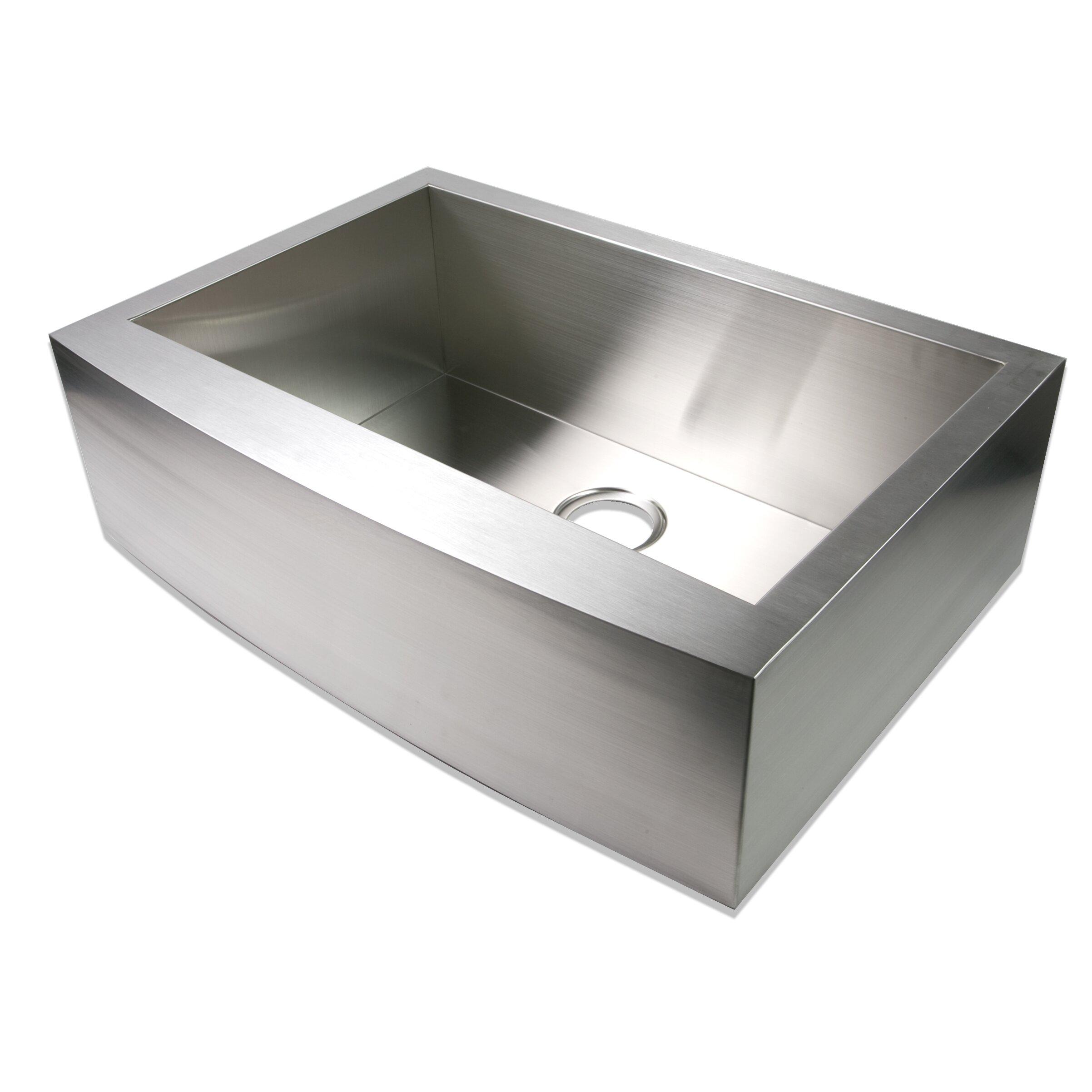 """Luxier 30"""" x 21"""" Farmhouse Apron Single Bowl Stainless Steel Handmade Zero Radius Kitchen Sink"""