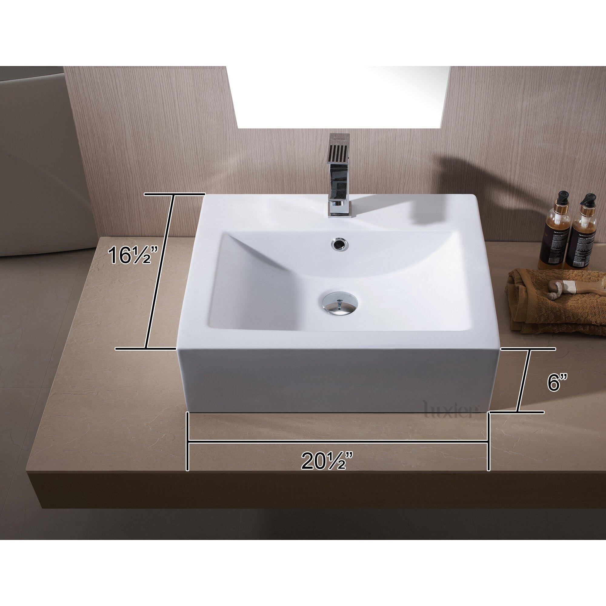 Porcelain Sinks Bathroom Vanities : Luxier L-003 Bathroom Porcelain Ceramic Vessel Vanity Sink Art Basin ...