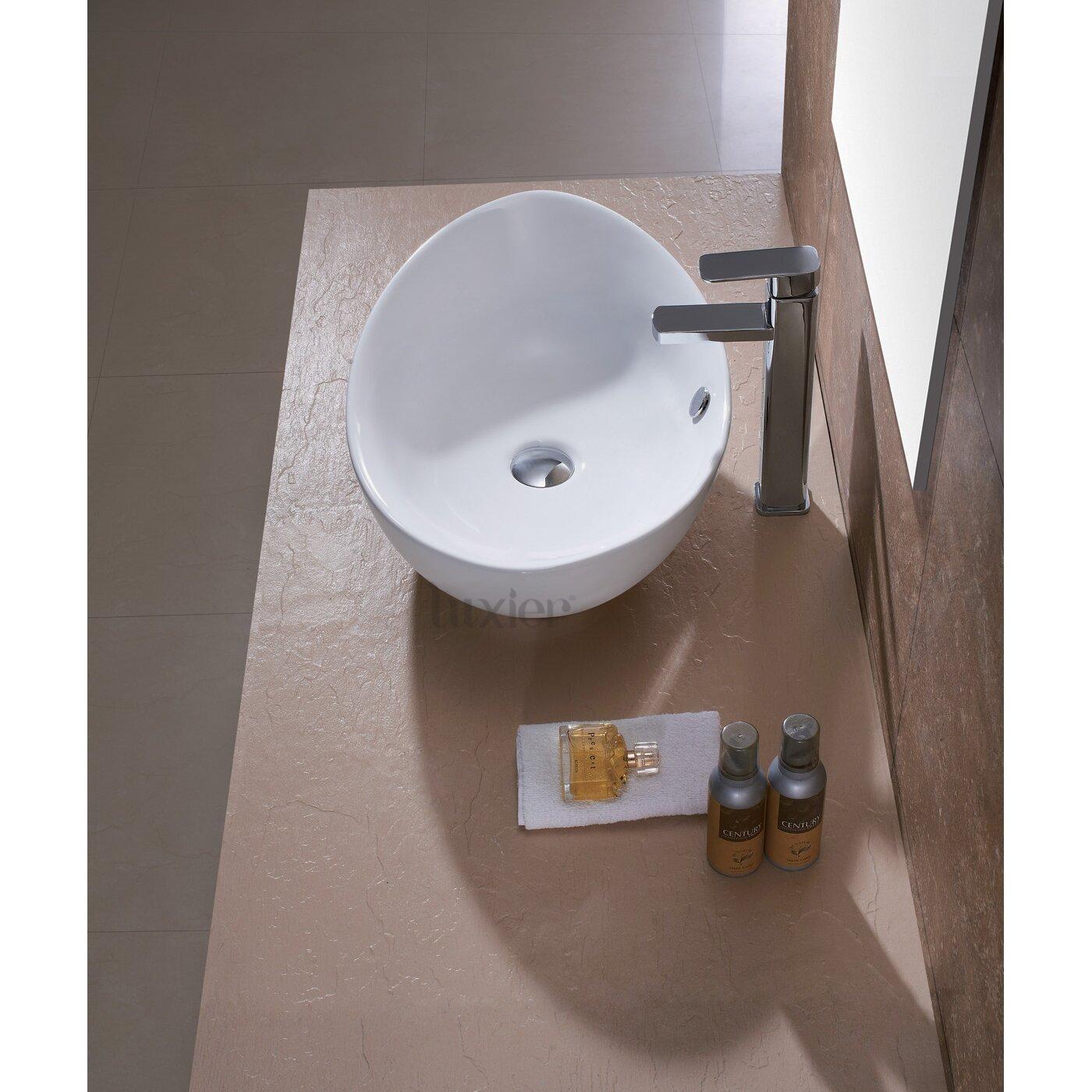 Luxier L-004 Bathroom Egg Porcelain Ceramic Vessel Vanity