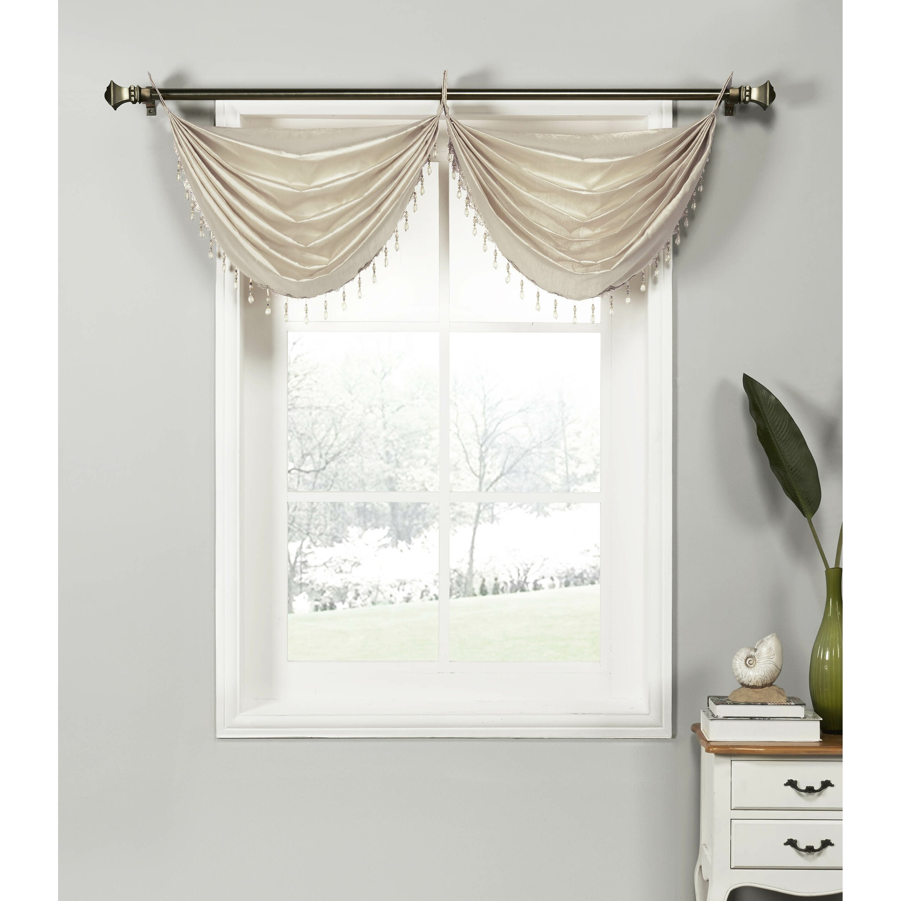 Astoria Grand Shaftoe Silk Waterfall Window Curtain Valance Reviews Wayfair