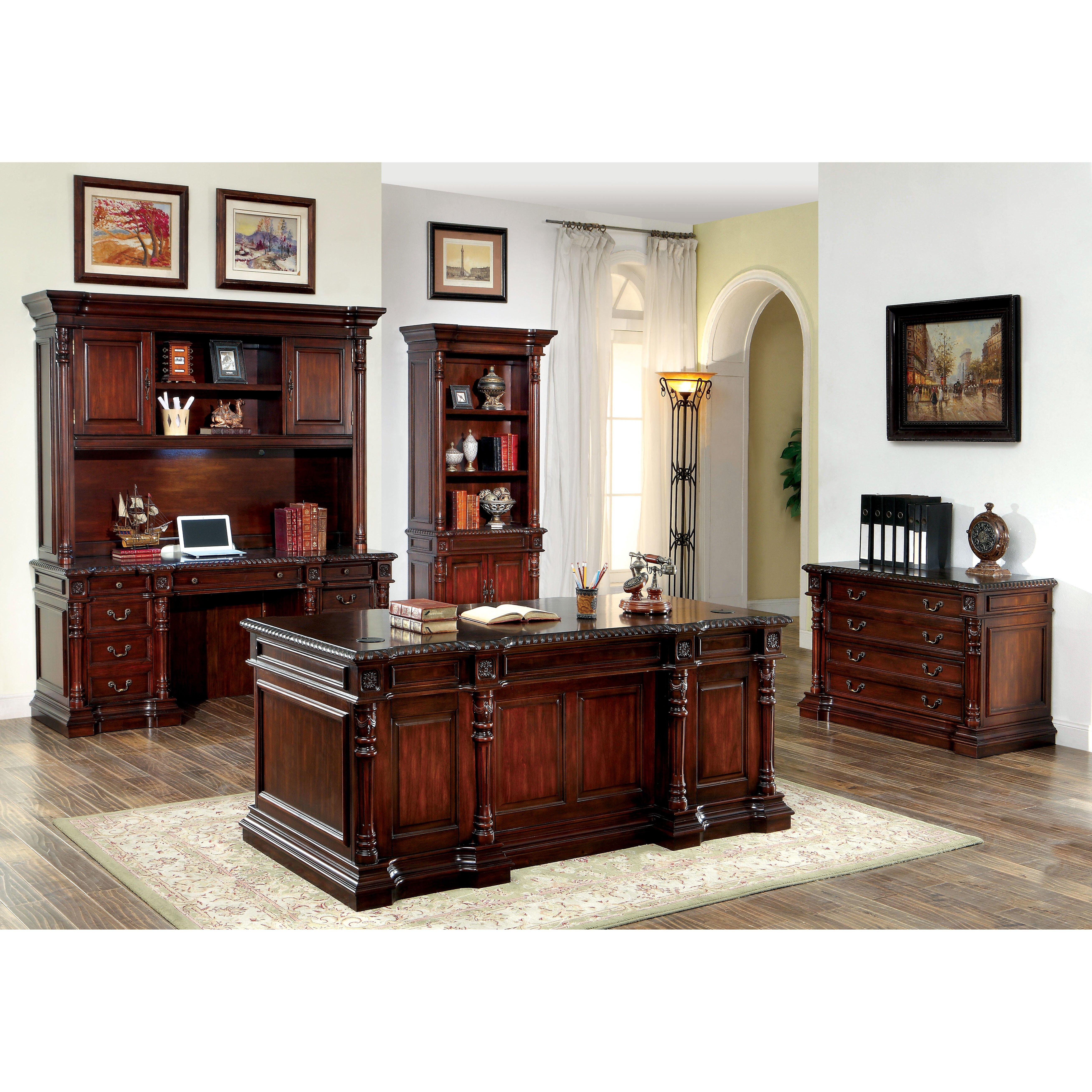 Aspenhome Warm Cherry Executive Modular Home Office: Astoria Grand Eastpointe Executive Desk