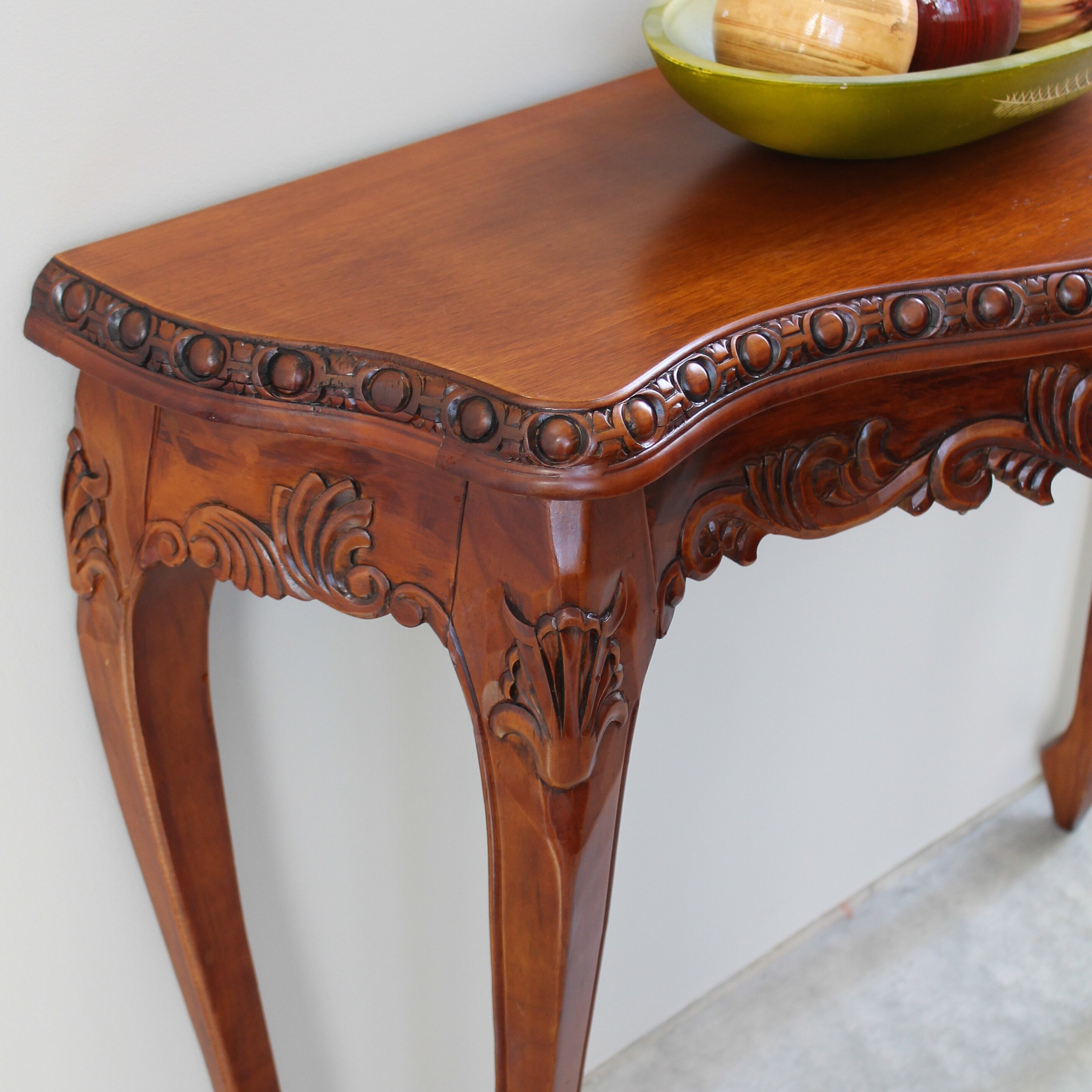 Hand Carved Console Table ~ Astoria grand almont hand carved wood console table
