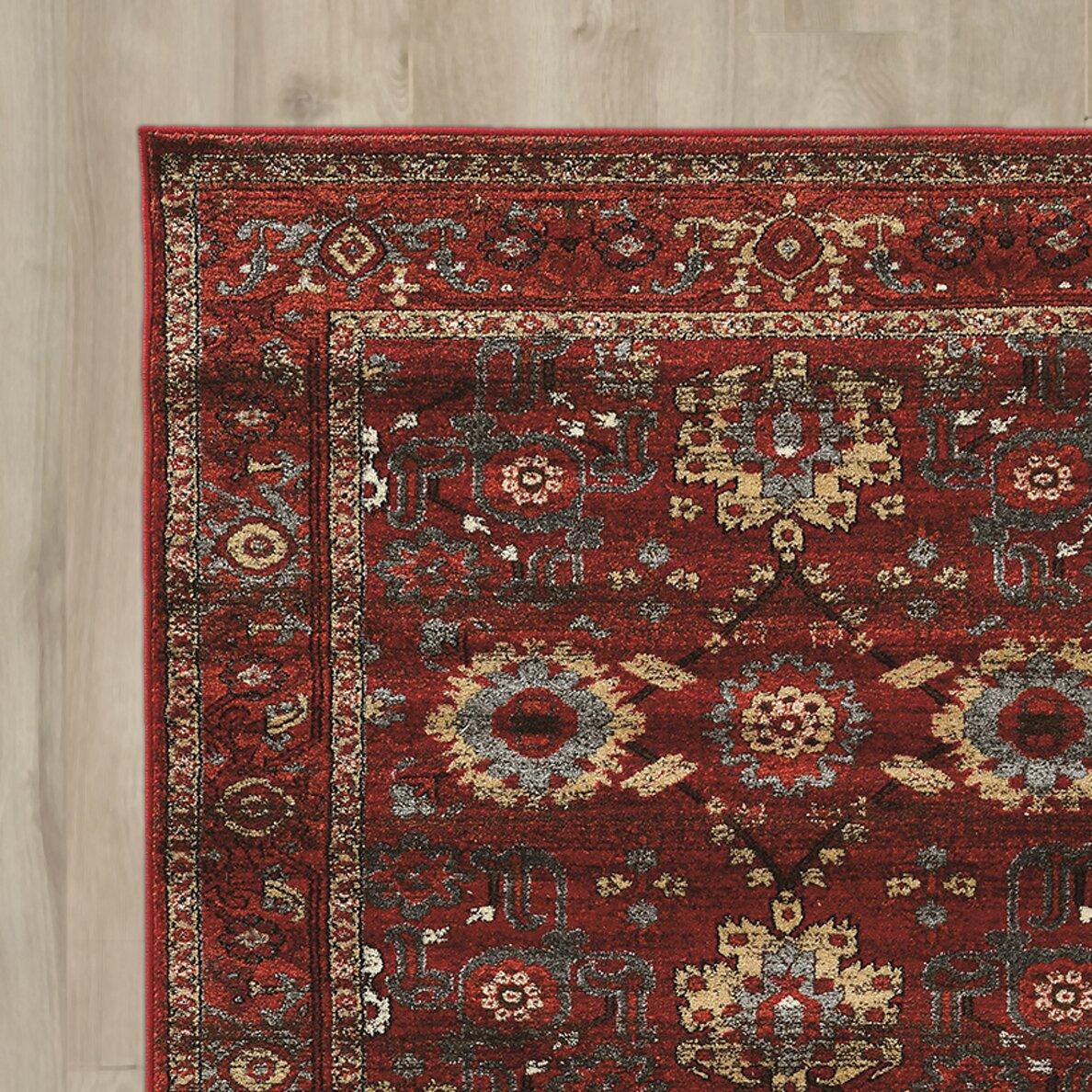 world menagerie kaul heriz red gray area rug wayfair. Black Bedroom Furniture Sets. Home Design Ideas