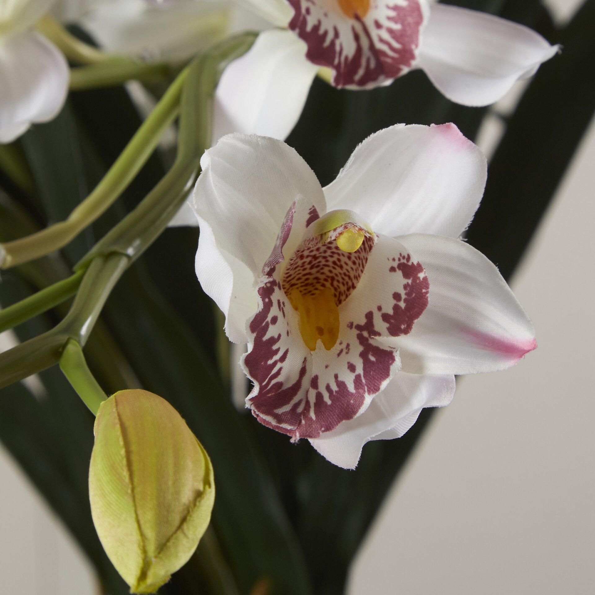 World Menagerie Orchid Silk Flower Arrangement in White