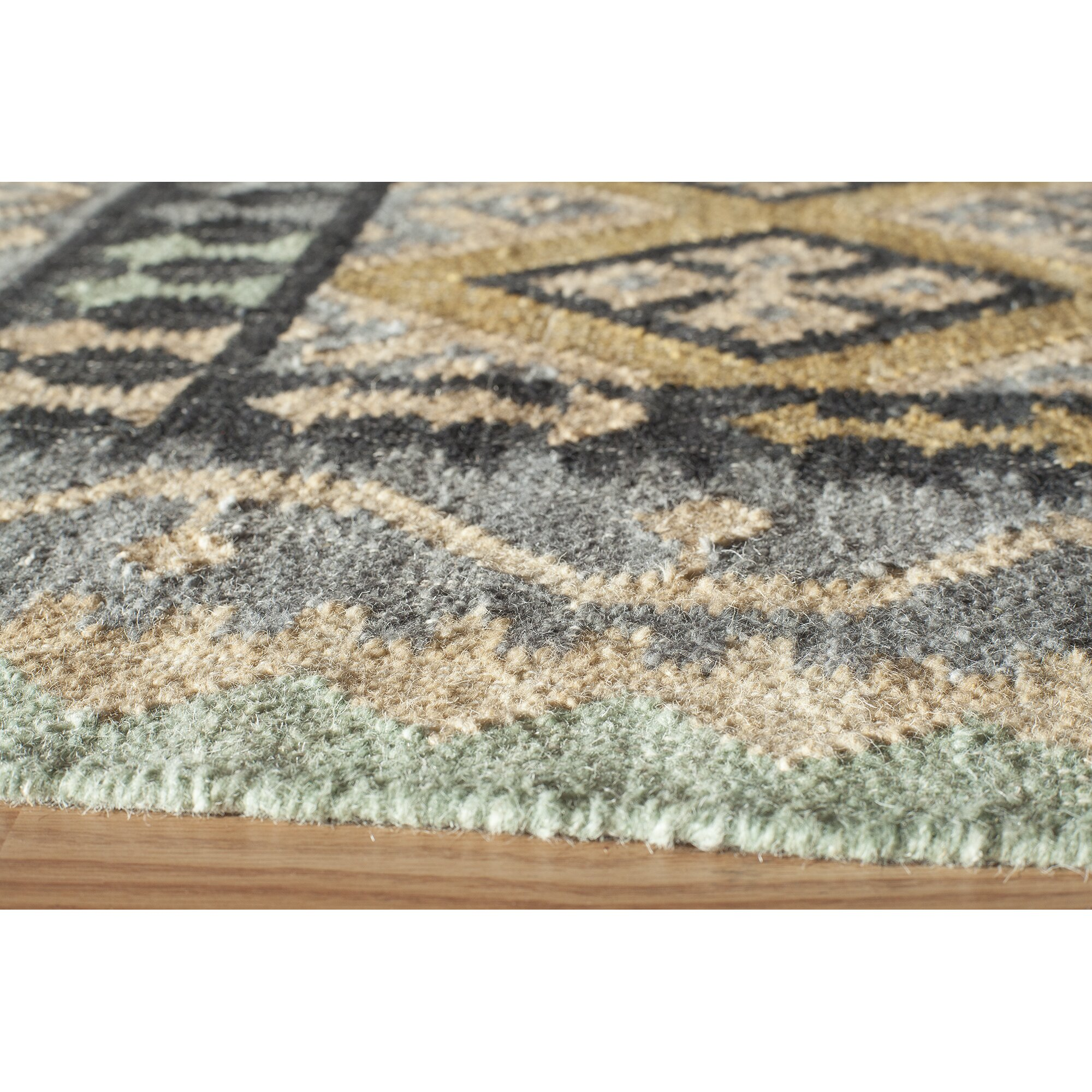 World Menagerie Adolphus Hand-Woven Gray/Green Area Rug