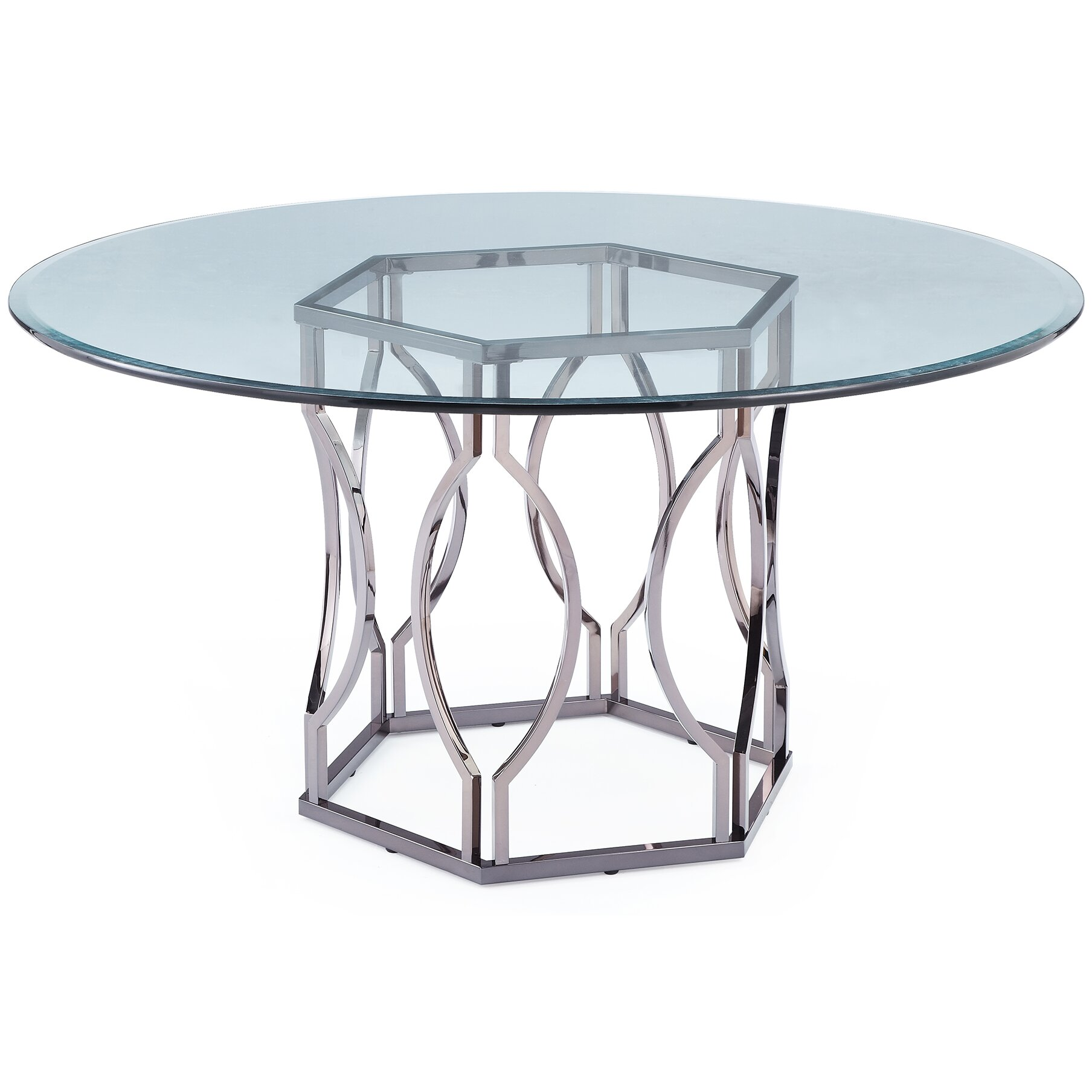 Mercer41 viggo round glass dining table reviews wayfair for Round glass dining table