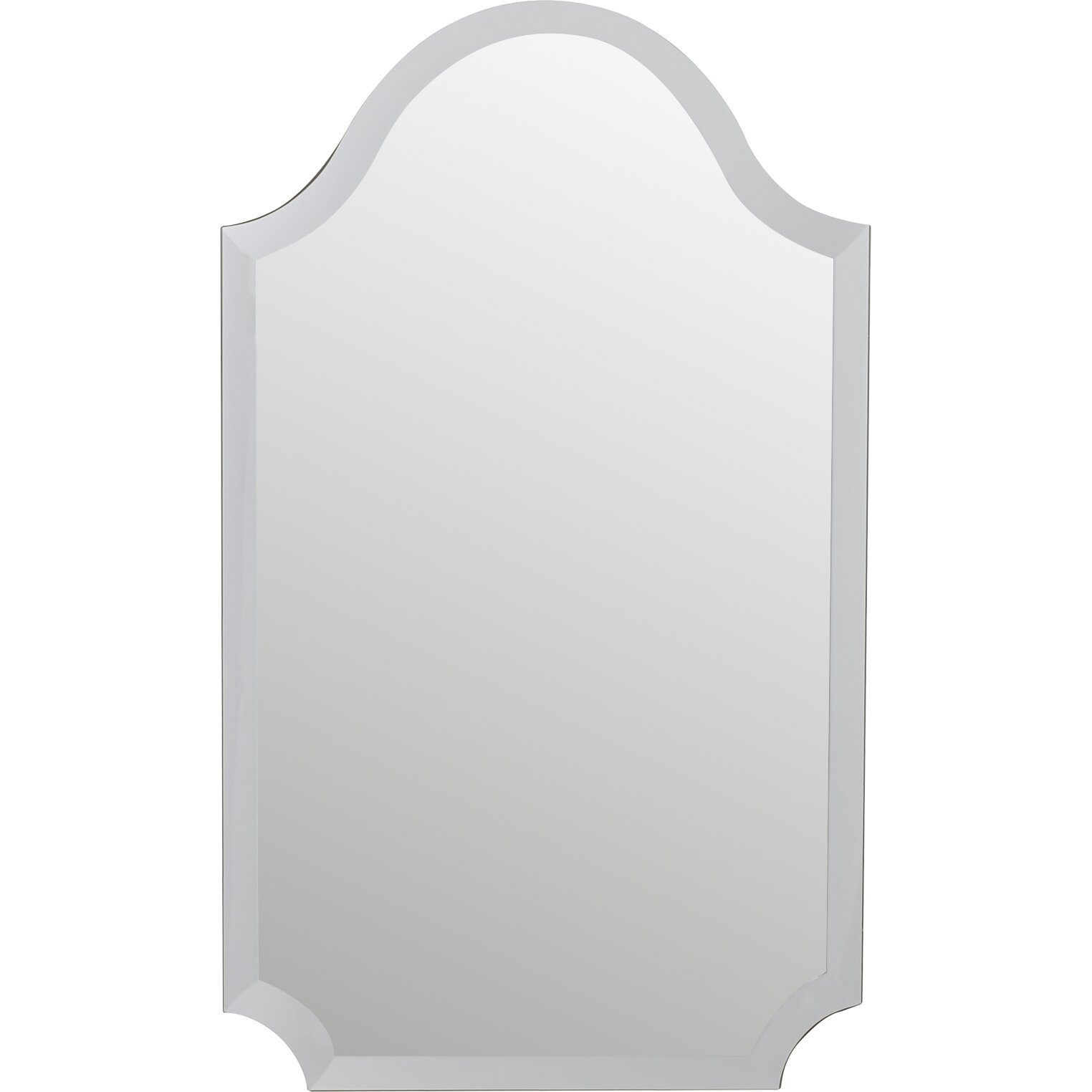 Mercer41 tall arched scalloped wall mirror reviews wayfair for Tall glass mirror