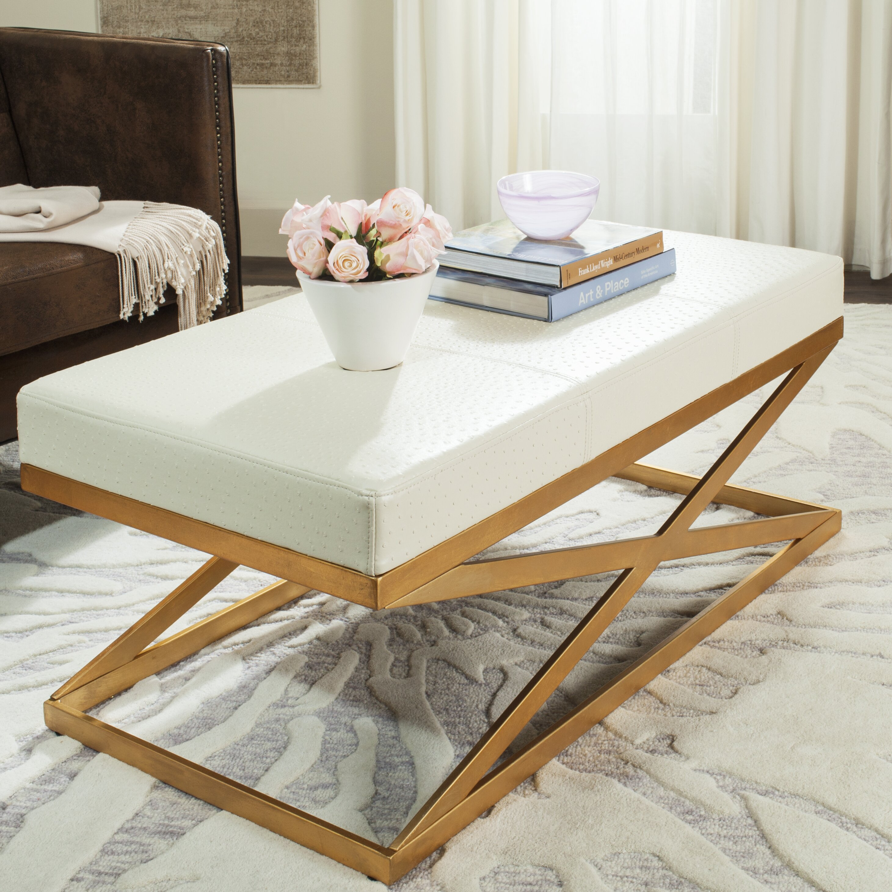 Foyer Leather Bench : Mercer ray leather entryway bench reviews wayfair