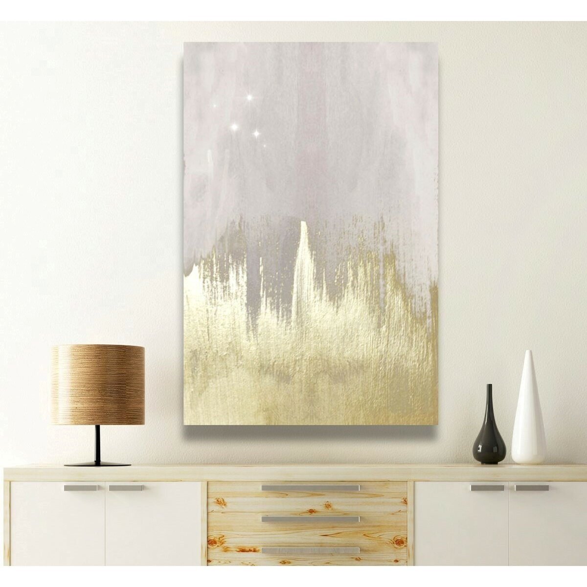 Off White Starry Night Painting Print On Wrapped Canvas
