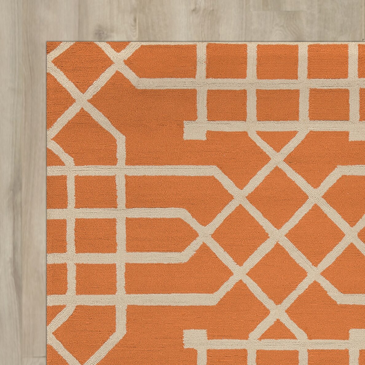 Mercer41 angela hand tufted orange off white indoor for Indoor out door rugs