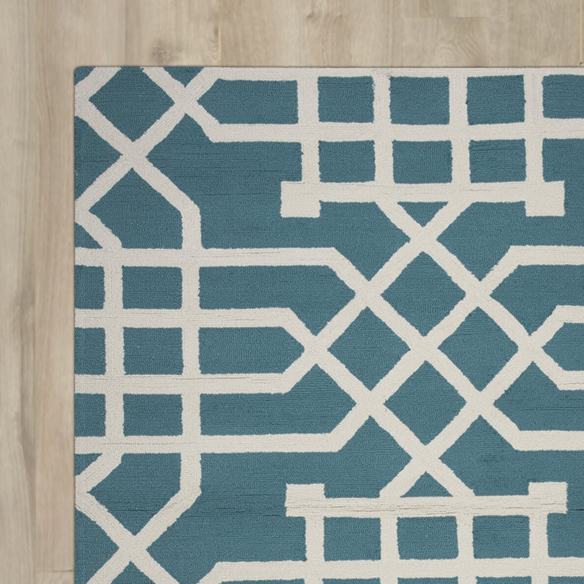 Mercer41 Angela Hand-Tufted Teal/Off White Indoor/Outdoor