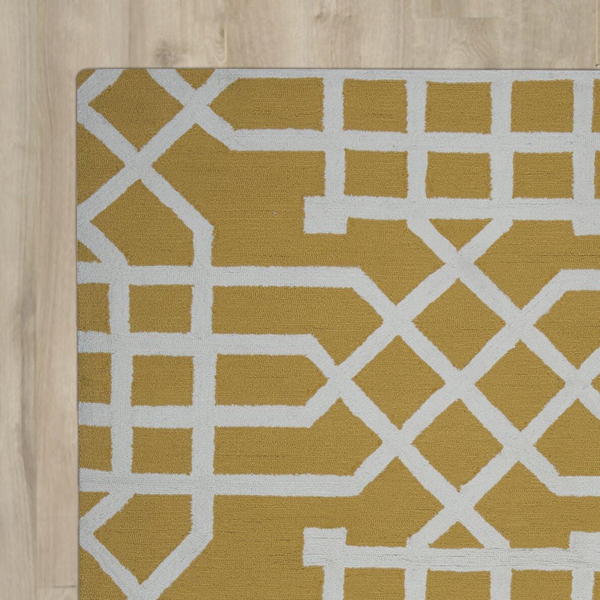 mercer41 angela hand tufted yellow white indoor outdoor area rug wayfair. Black Bedroom Furniture Sets. Home Design Ideas