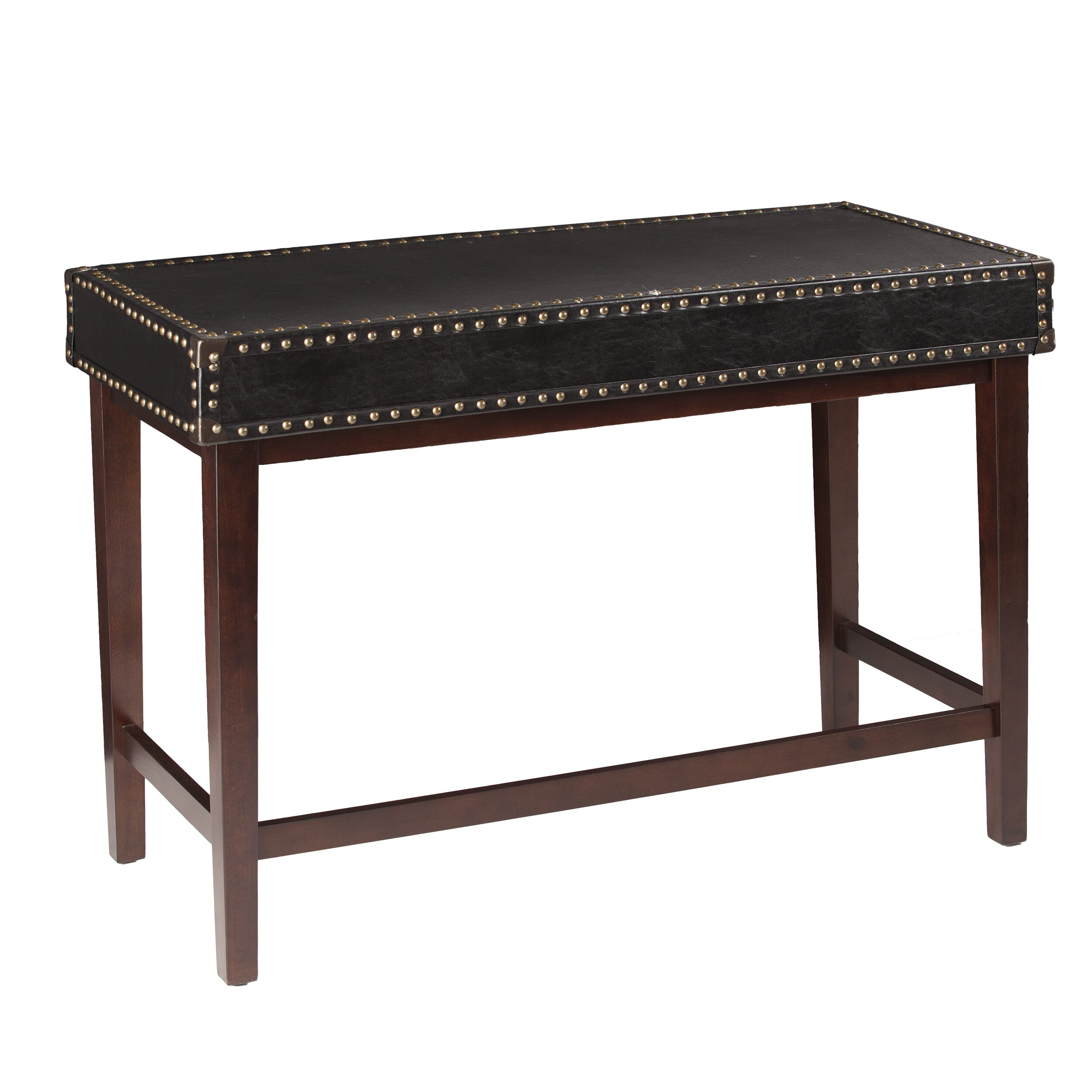 Mercer41 Reuland Faux Leather Writing Desk In Black Wayfair