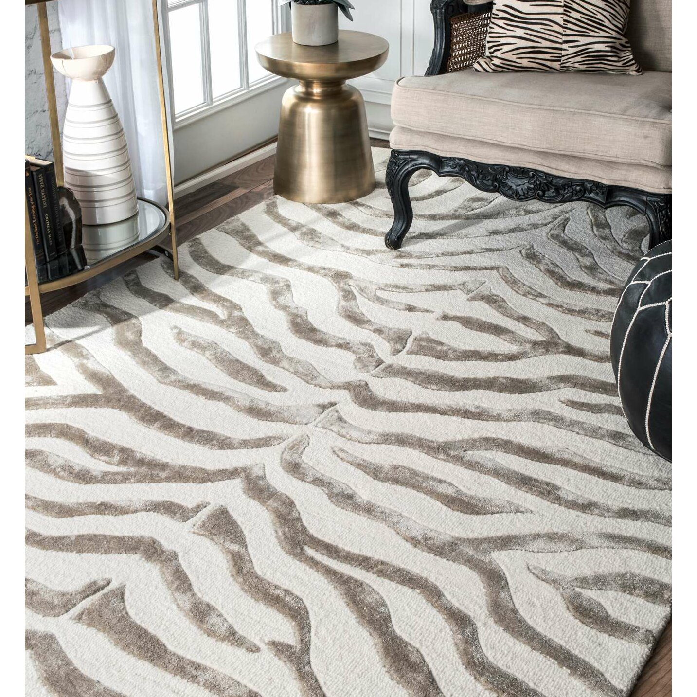 Mercer41 Dodgson Soft Zebra Technique Grey/Ivory Area Rug