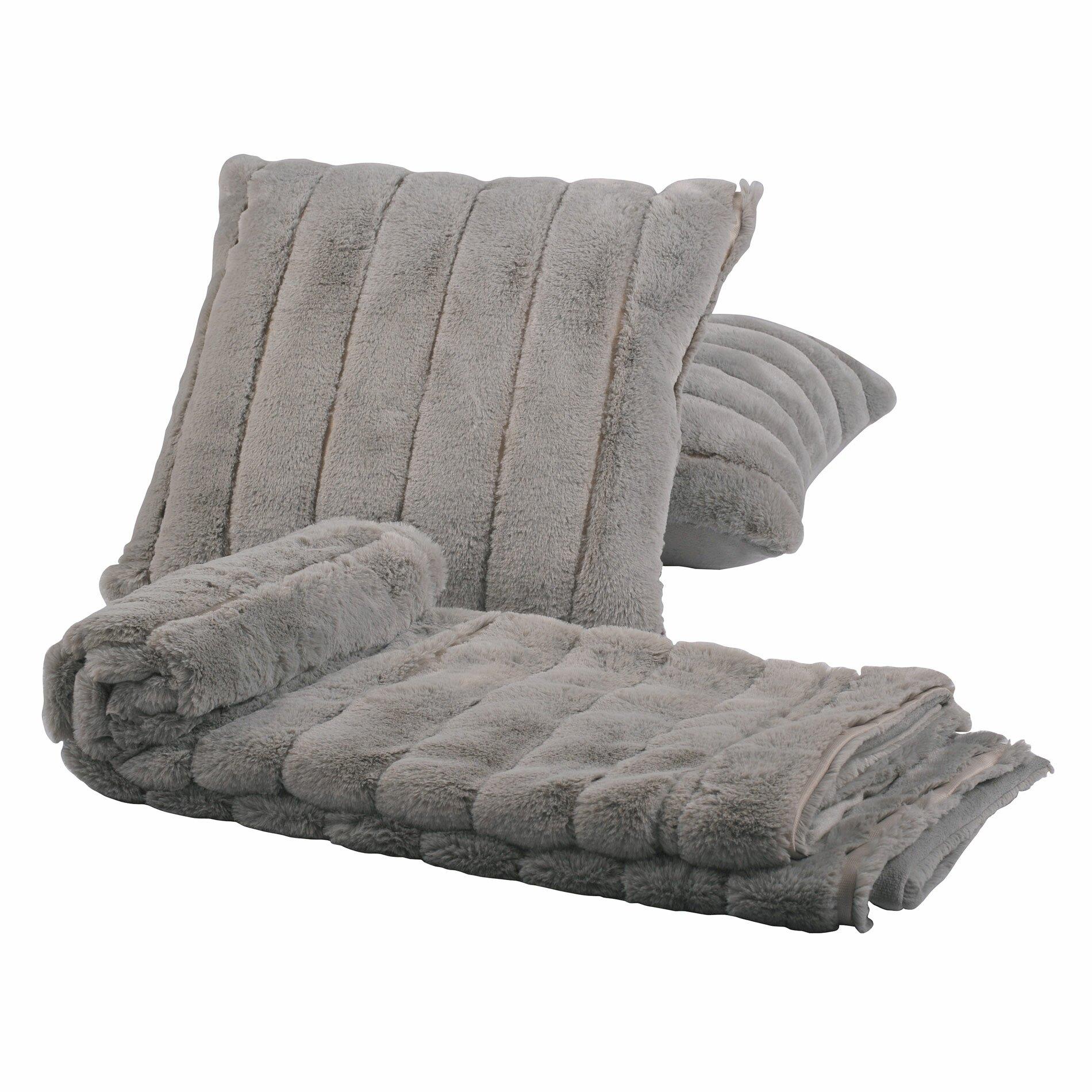 BOON Throw & Blanket Luxury Rabbit Faux Fur Throw and Pillow Combo & Reviews Wayfair