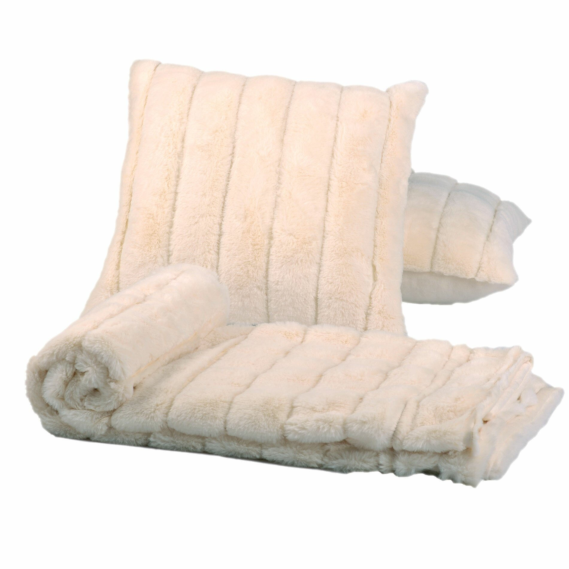 Throw Pillow And Blanket Set : BOON Throw & Blanket Luxury Rabbit Faux Fur Throw and Pillow Combo & Reviews Wayfair