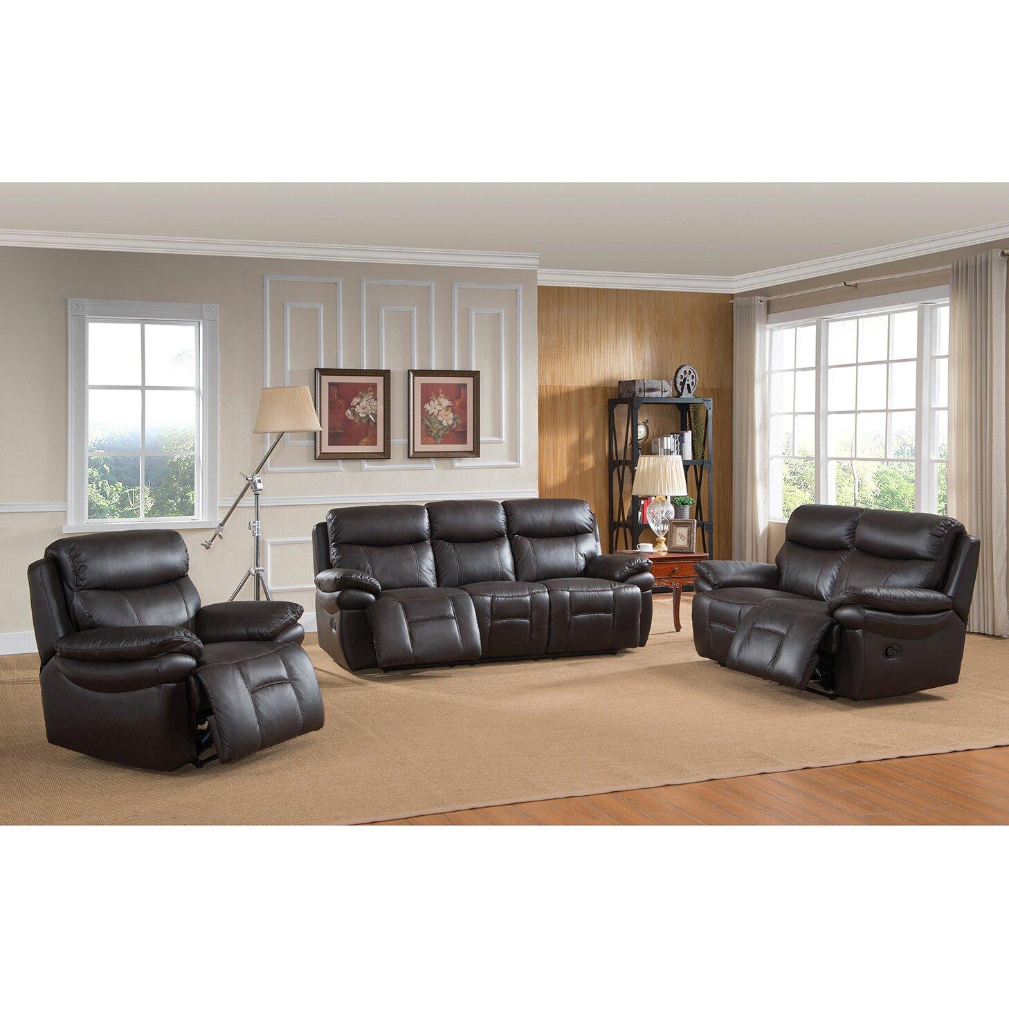 amax rushmore 3 piece leather living room set reviews wayfair. Black Bedroom Furniture Sets. Home Design Ideas