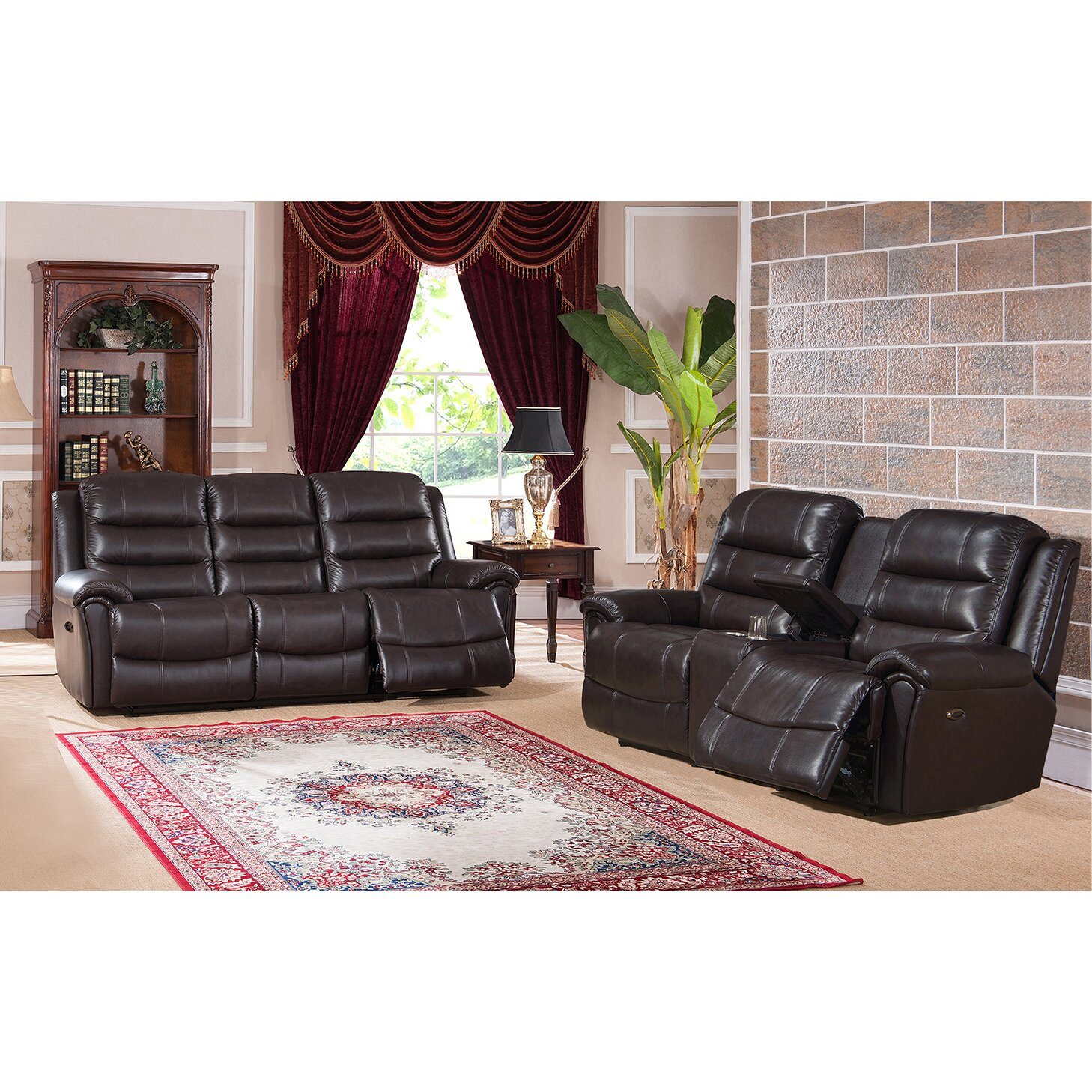 Amax astoria leather recliner sofa and loveseat set wayfair for Leather sofa and loveseat set