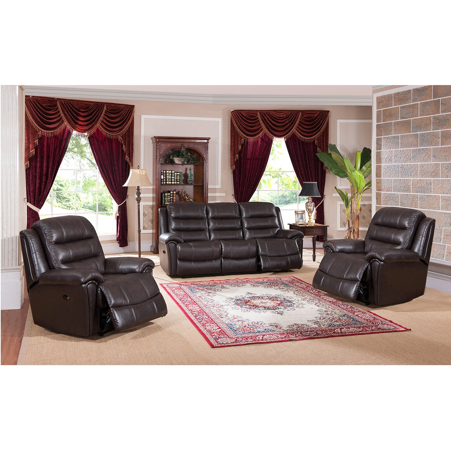 Amax astoria 3 piece leather living room set wayfair for Living room 3 piece sets