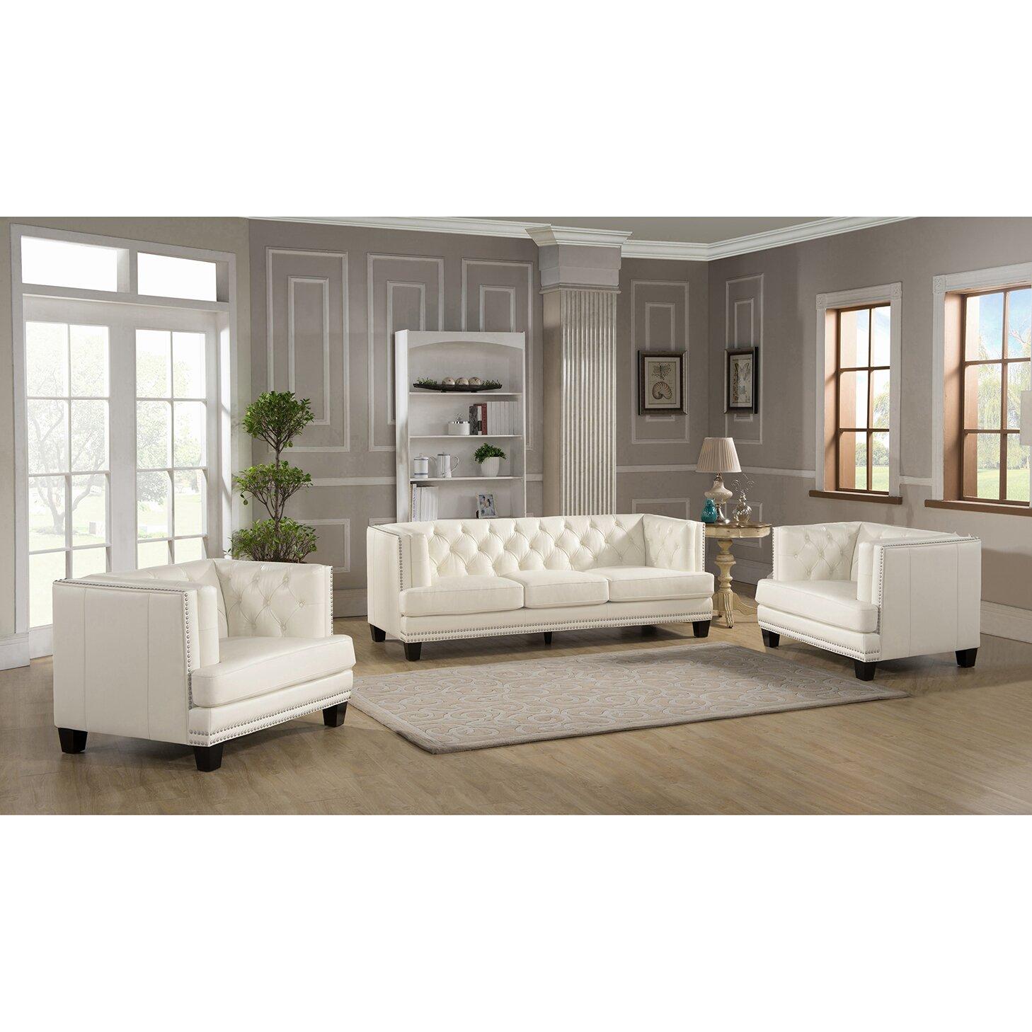 Amax newport 3 piece leather living room set reviews for Three piece leather living room set