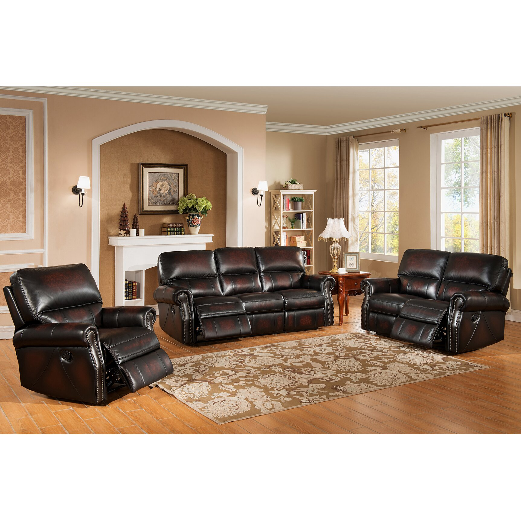 Amax nevada 3 piece leather living room set wayfair for Living room 3 piece sets