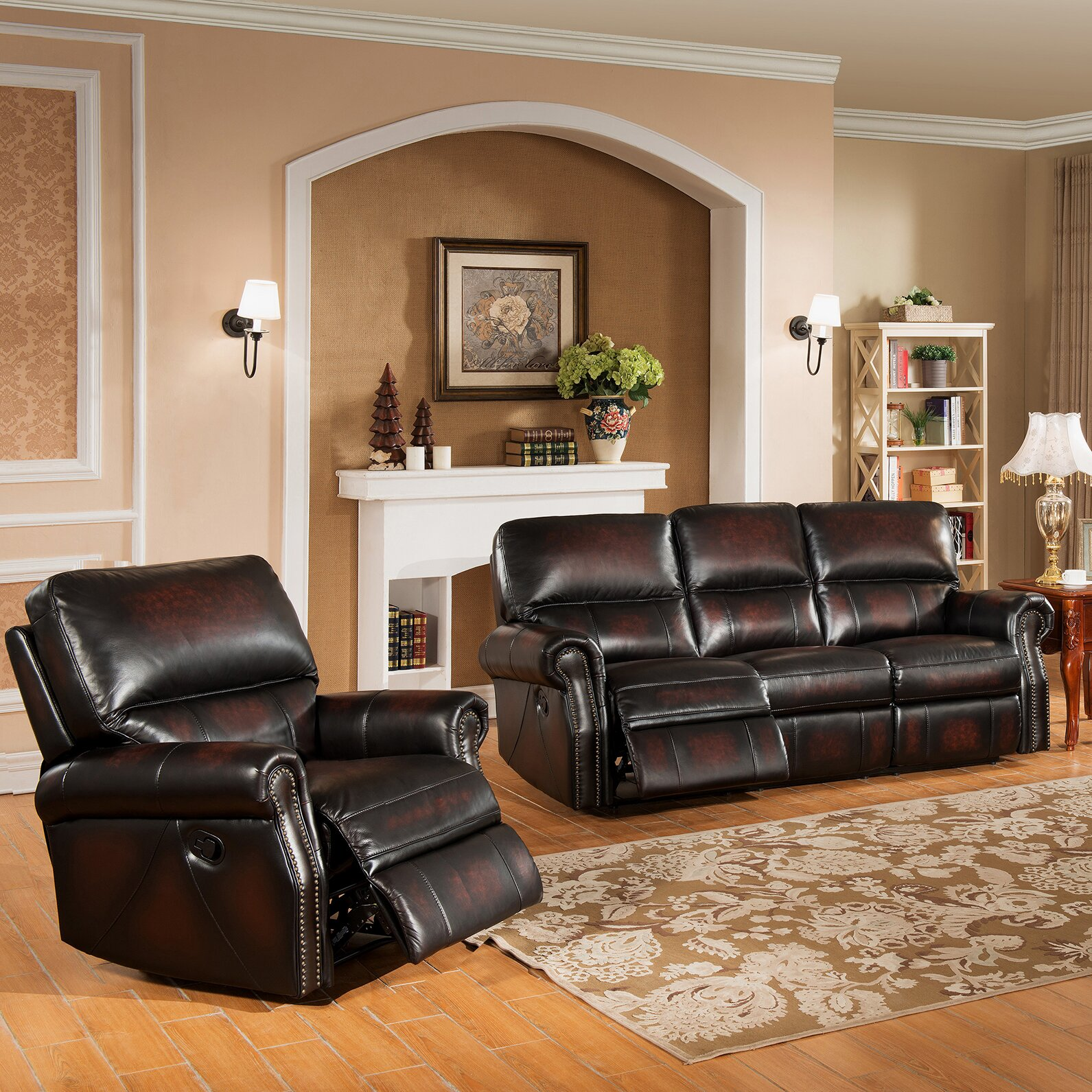 Living Room: Amax Nevada 2 Piece Leather Living Room Set & Reviews