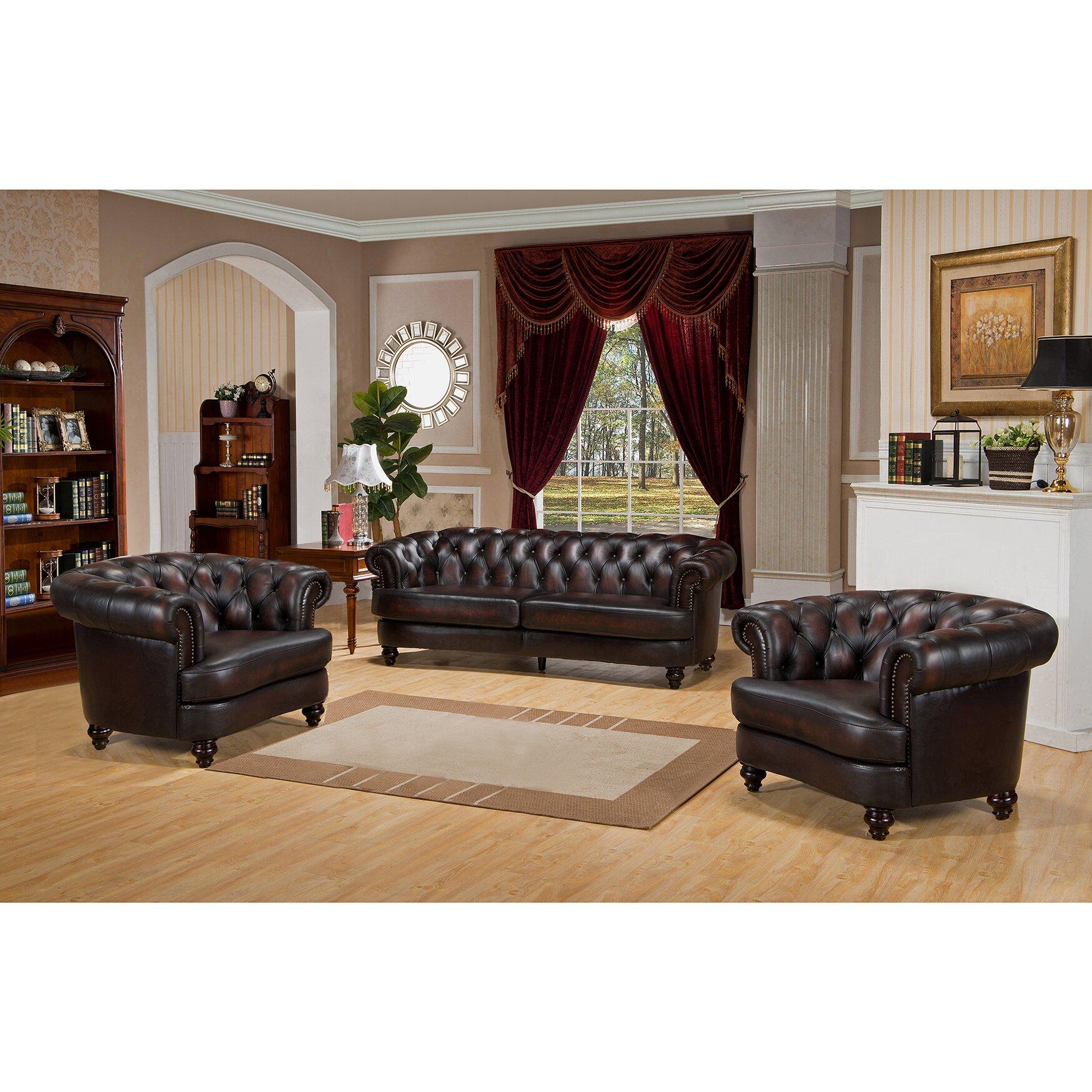 amax roosevelt 3 piece leather living room set. Black Bedroom Furniture Sets. Home Design Ideas