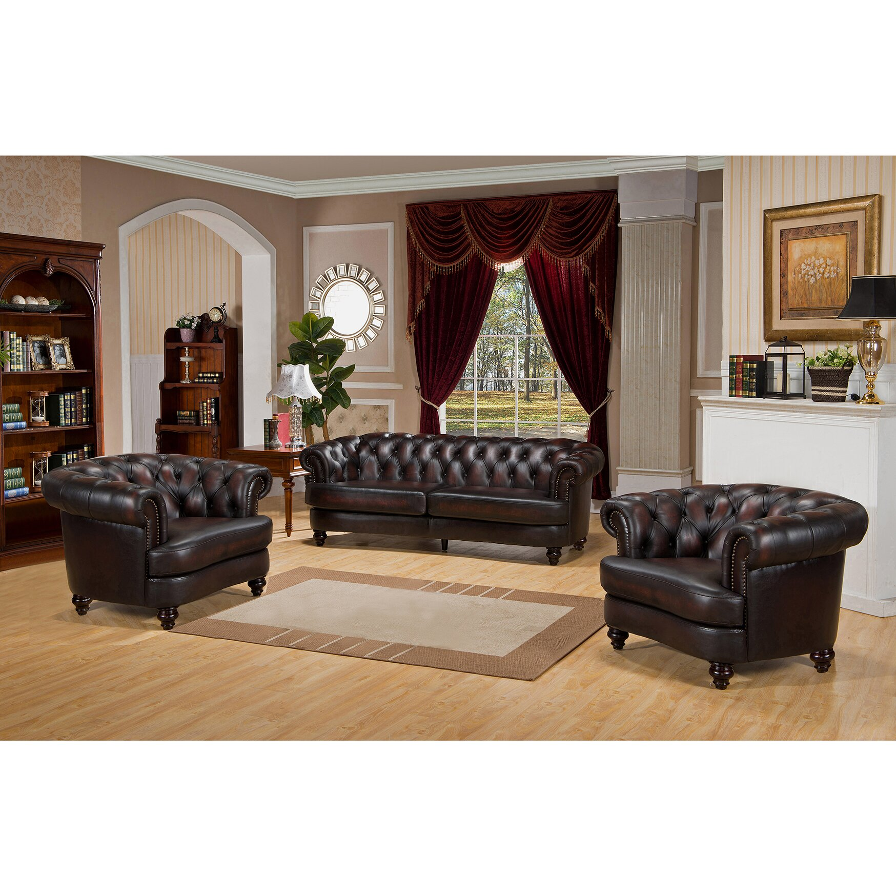 Amax Roosevelt 3 Piece Leather Living Room Set