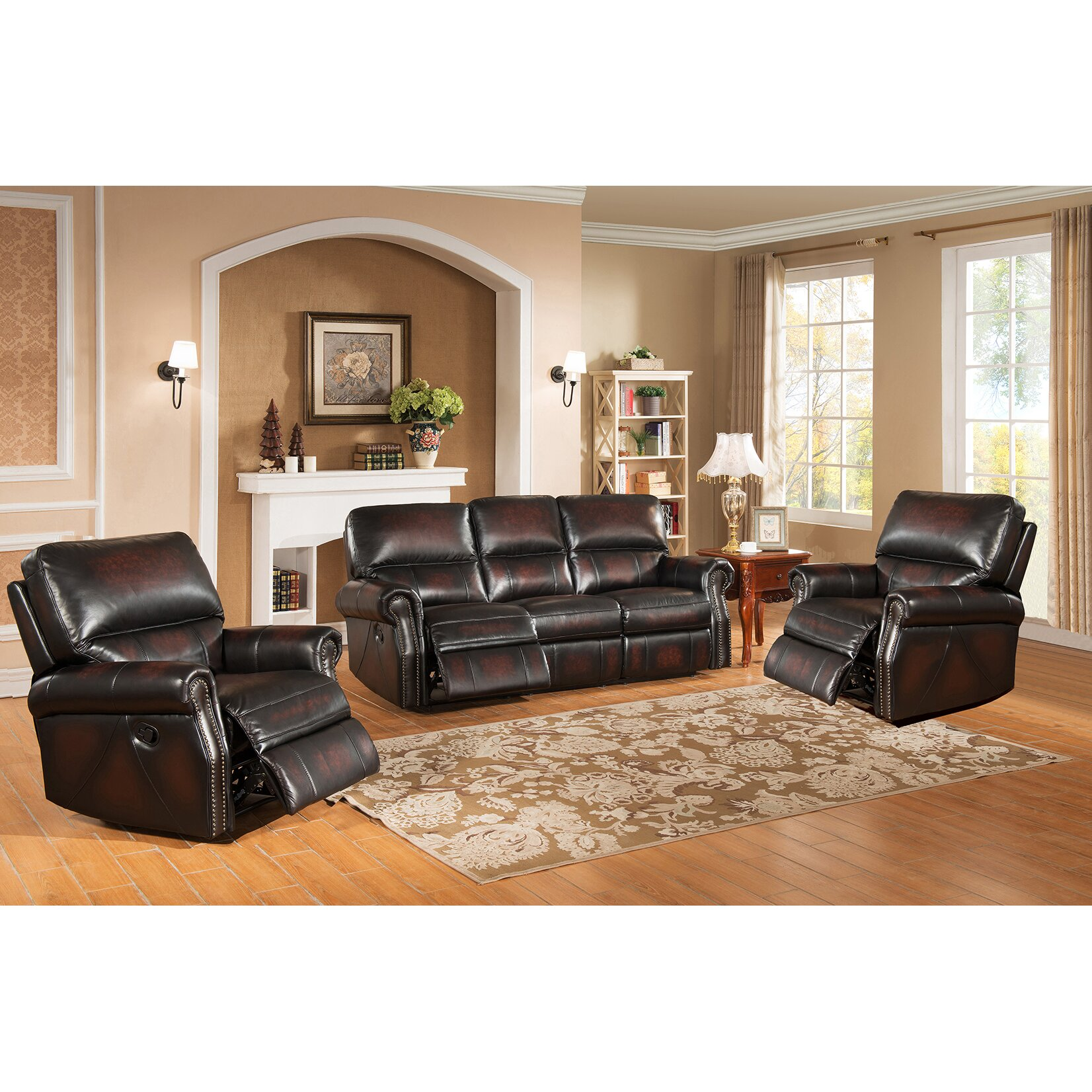 Amax nevada 3 piece leather living room set reviews for Living room 3 piece sets