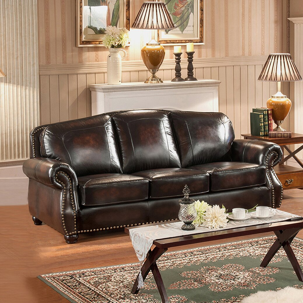 amax vail 2 piece leather living room set wayfair