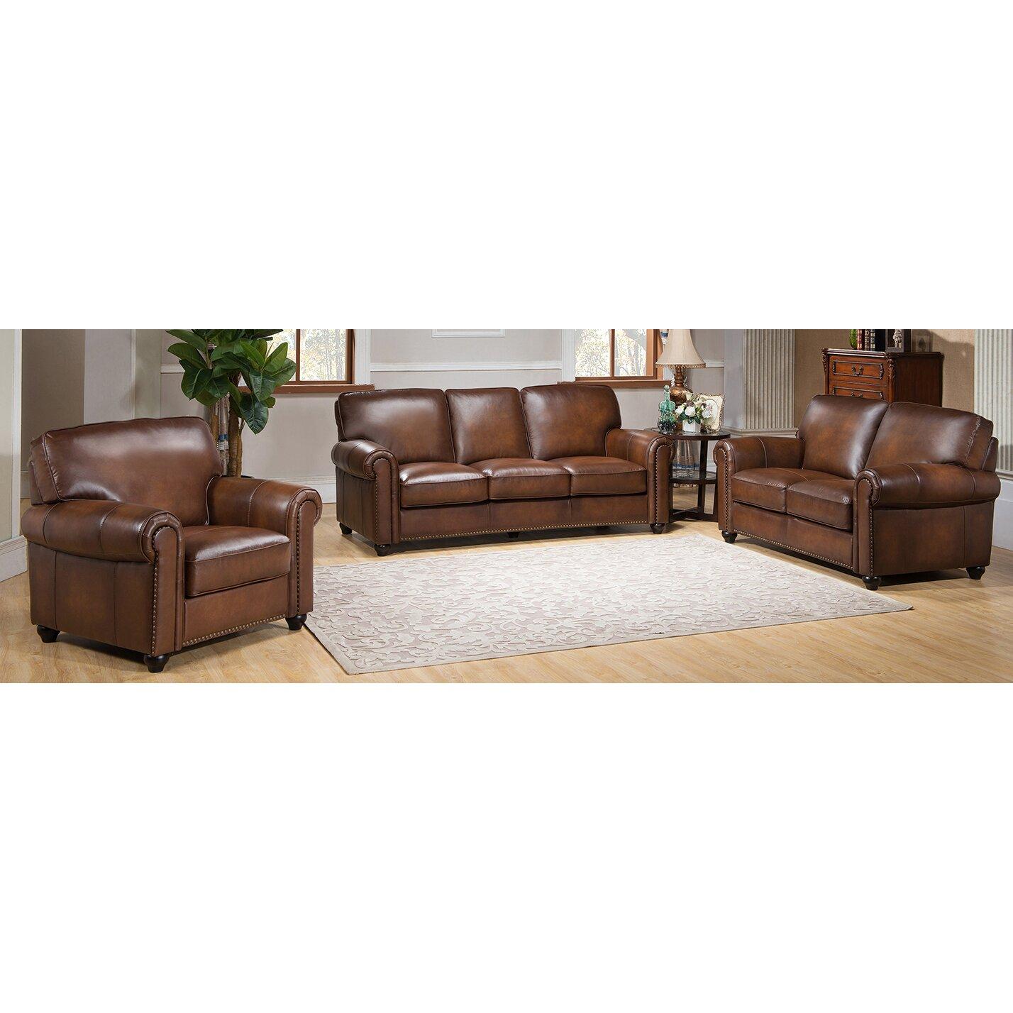 Amax aspen 3 piece leather living room set - Piece living room set ...