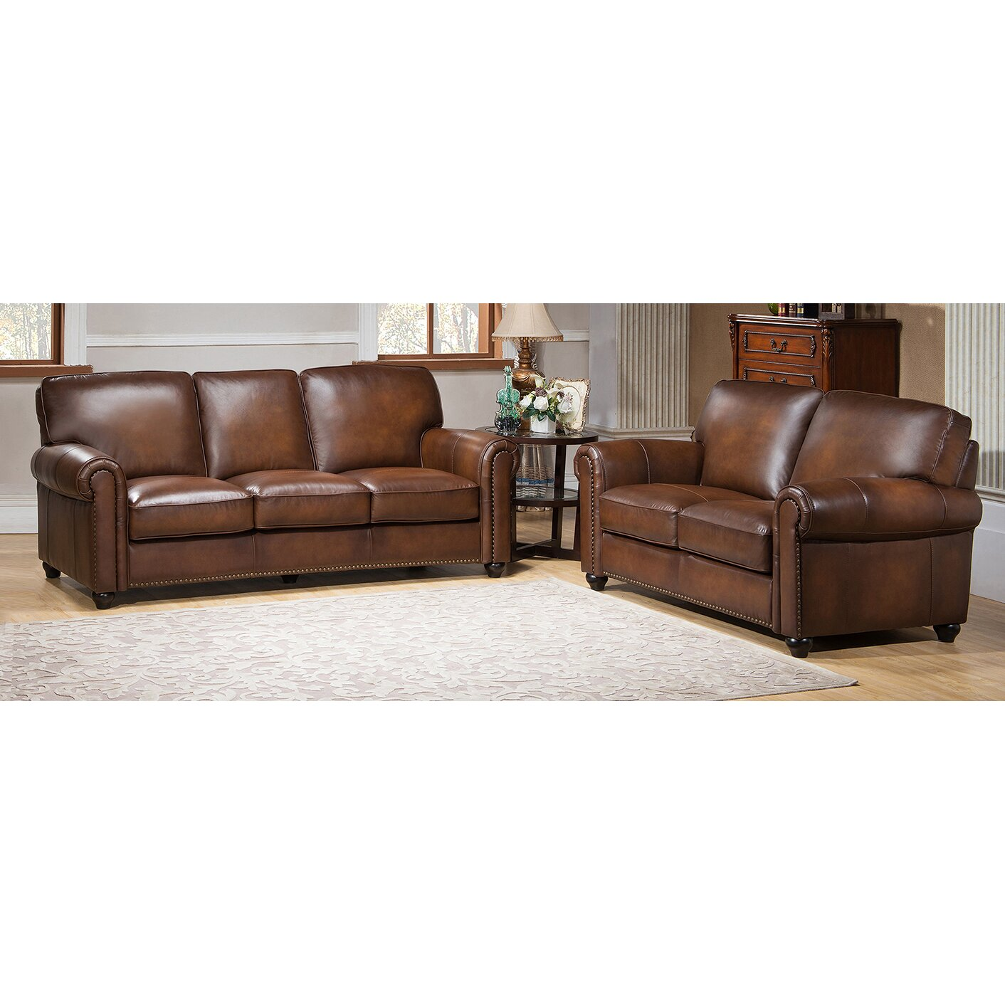 Amax aspen leather sofa and loveseat set wayfair for Leather sofa and loveseat set