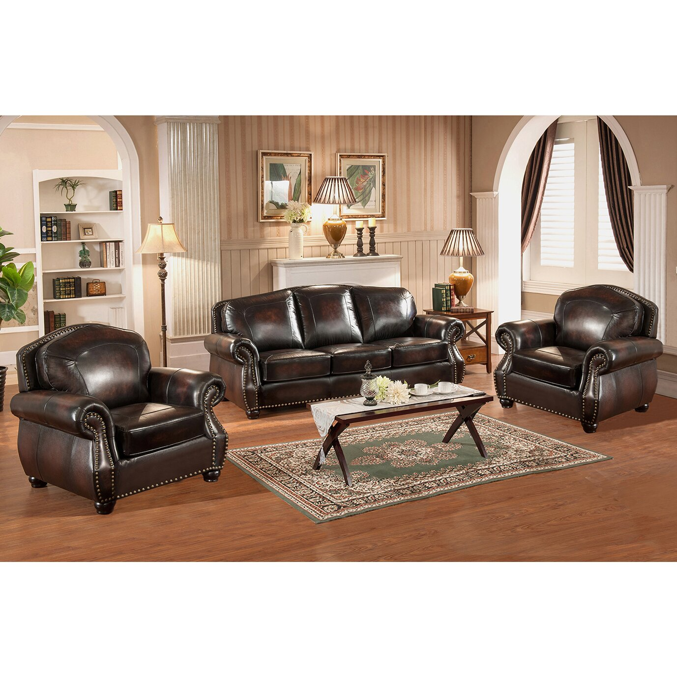amax vail 3 piece leather living room set wayfair