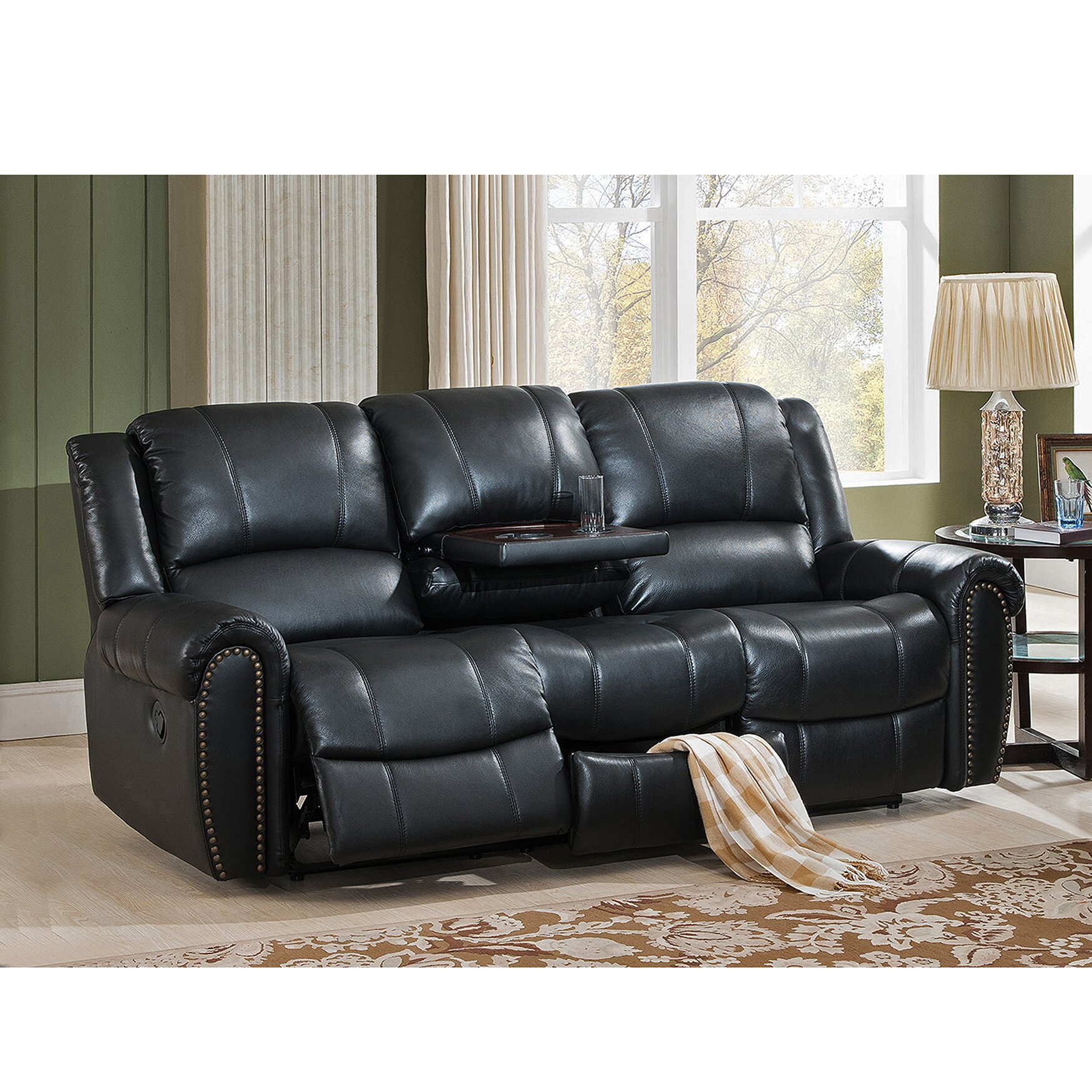 Amax Houston Leather Reclining Sofa Reviews Wayfair
