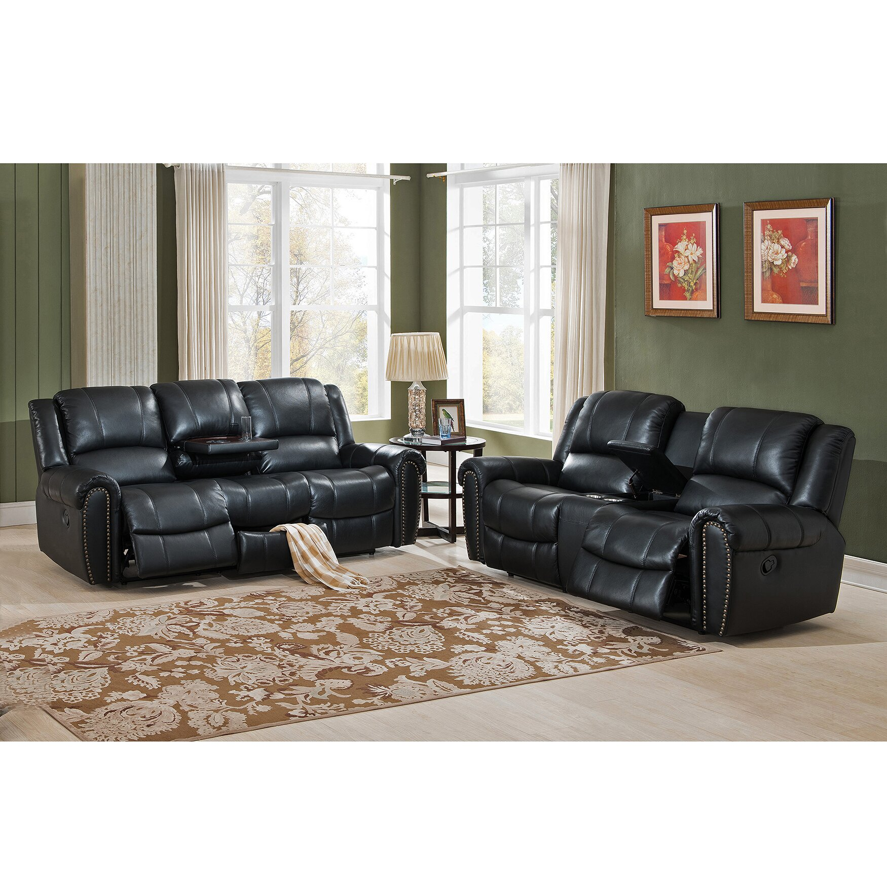 amax houston 2 piece leather living room set wayfair