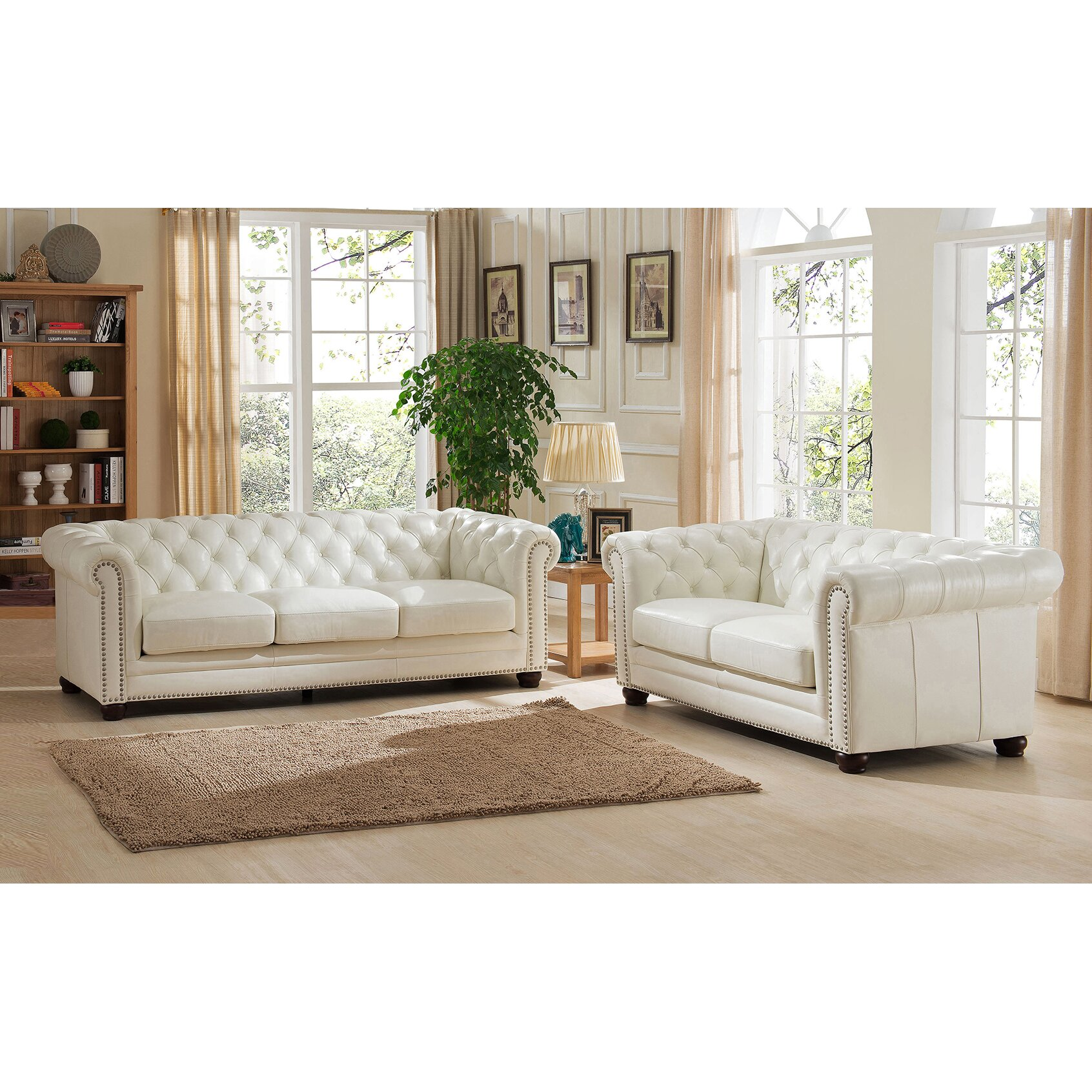Amax nashville leather sofa and loveseat set reviews for Living room of satoshi review