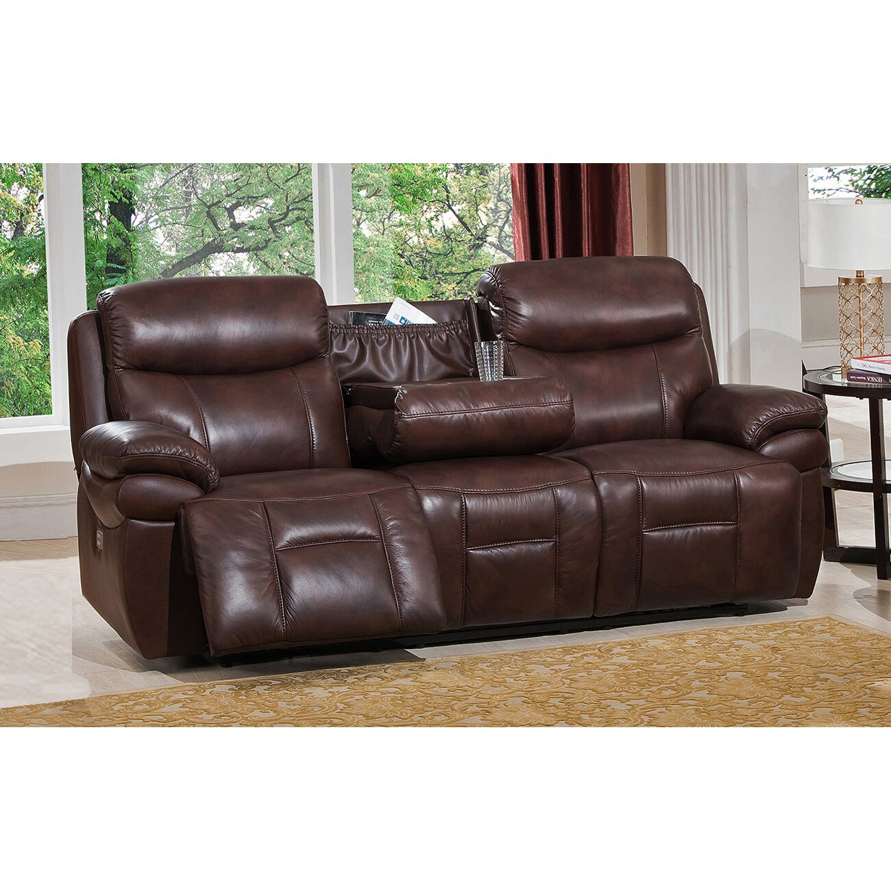 Amax sanford 2 piece leather power reclining living room set with power headrests and drop down for Living room with two recliners
