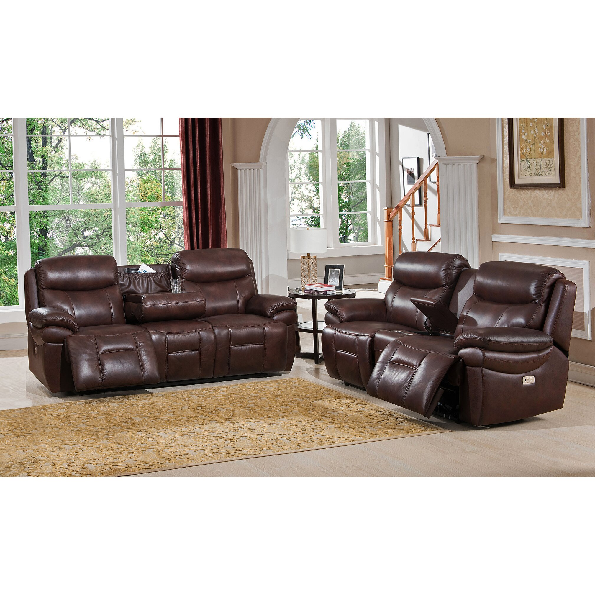 Amax Sanford 2 Piece Leather Power Reclining Living Room Set With Power Headrests And Drop Down