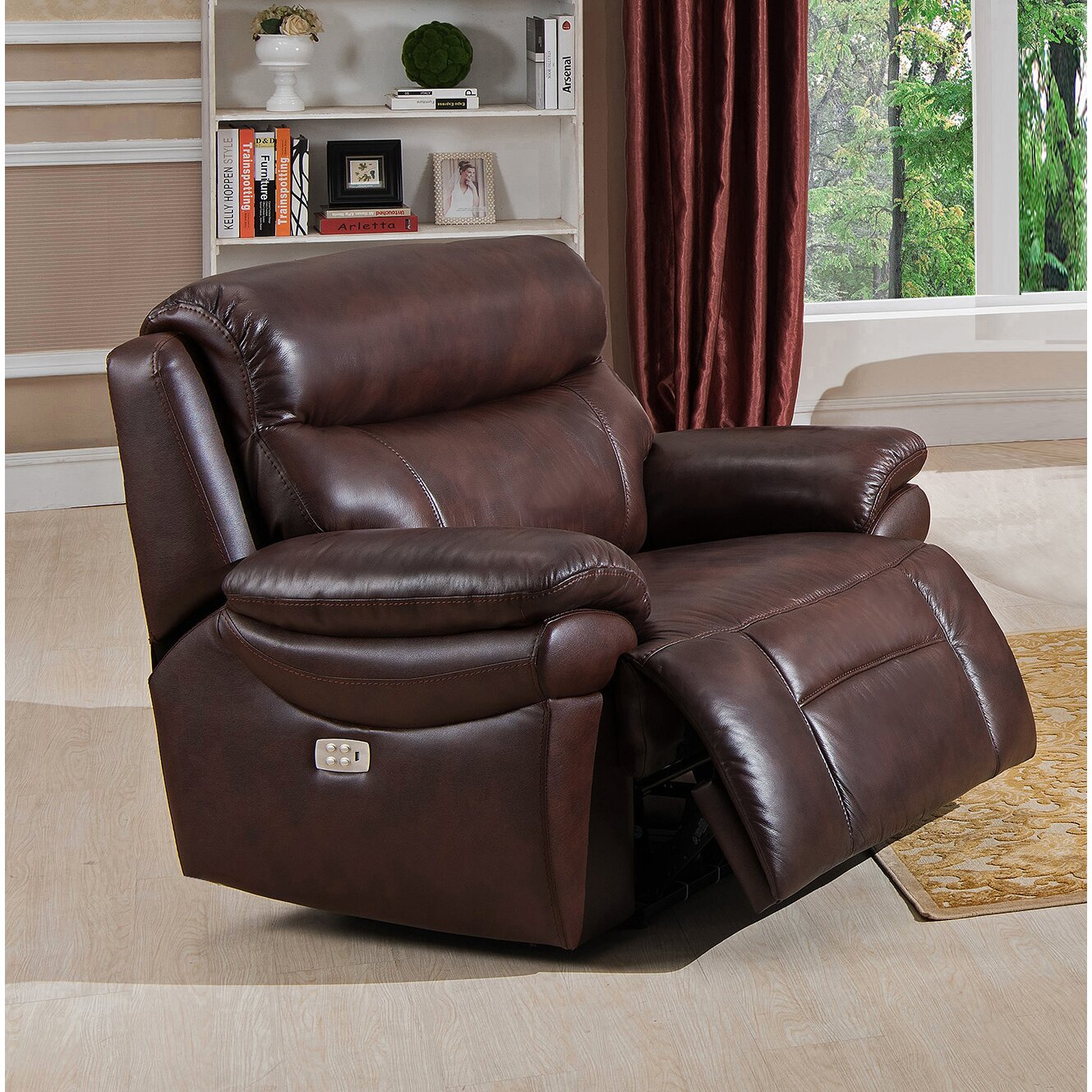 Amax Sanford 2 Piece Leather Power Reclining Living Room Set With USB Ports
