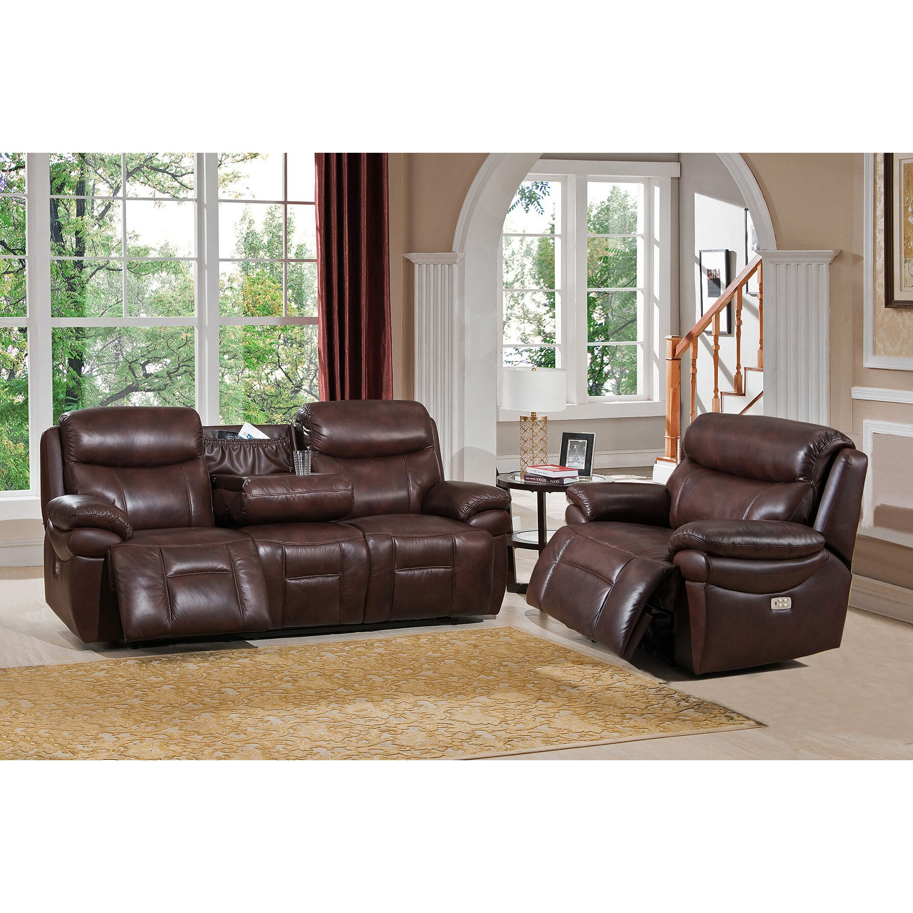 amax sanford 2 piece leather power reclining living room set with usb ports power headrests. Black Bedroom Furniture Sets. Home Design Ideas