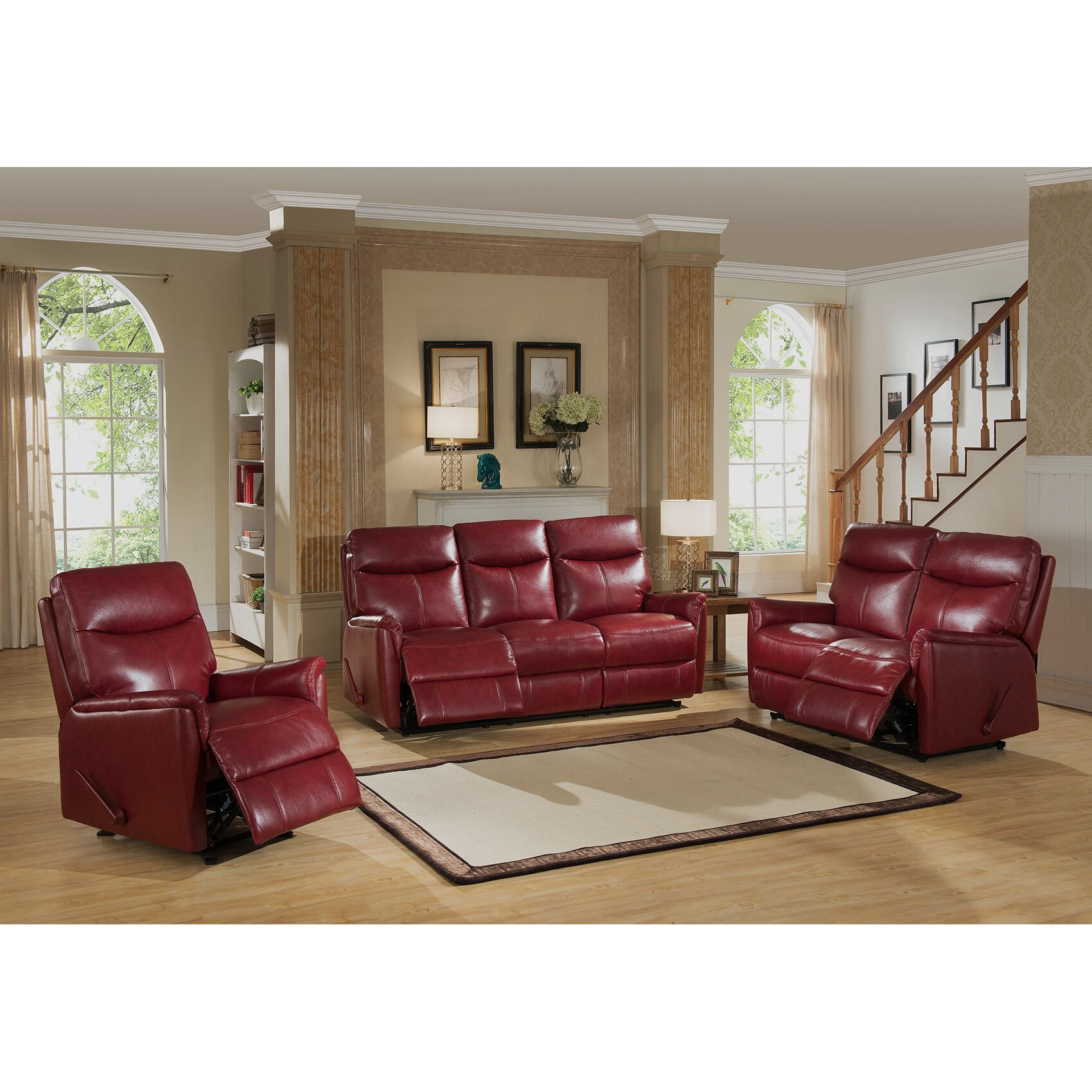 Amax napa 3 piece leather lay flat reclining living room for Living room 3 piece sets