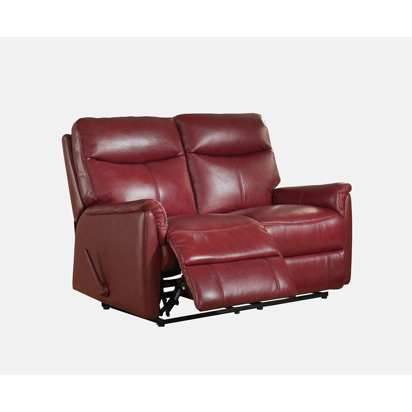 Amax napa top grain leather lay flat reclining sofa and for Couch sofa set