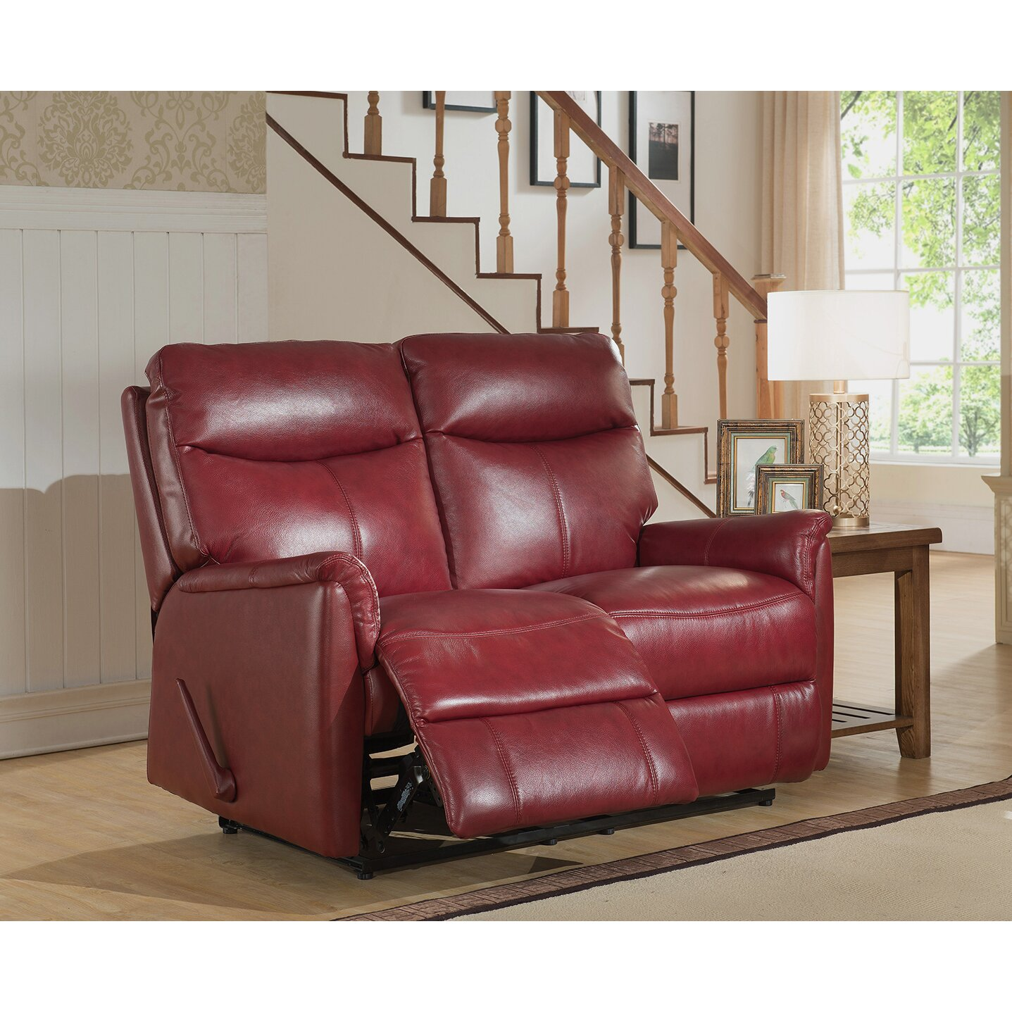 Amax napa top grain leather lay flat reclining sofa and for Divan and settee