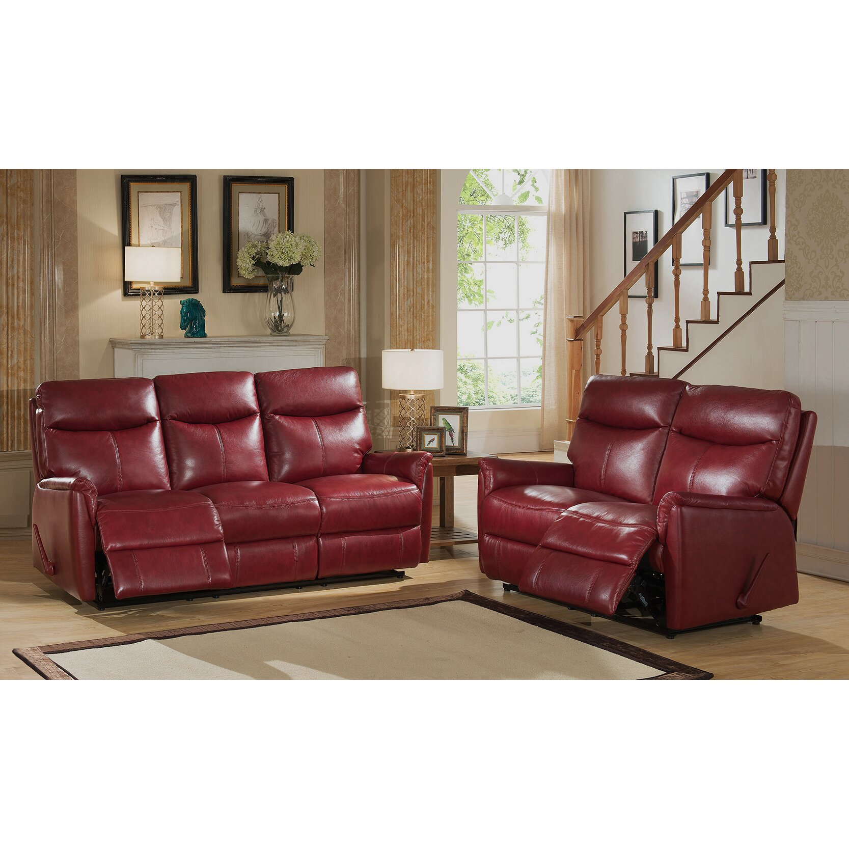 Amax Napa Top Grain Leather Lay Flat Reclining Sofa And Loveseat Set Wayfair