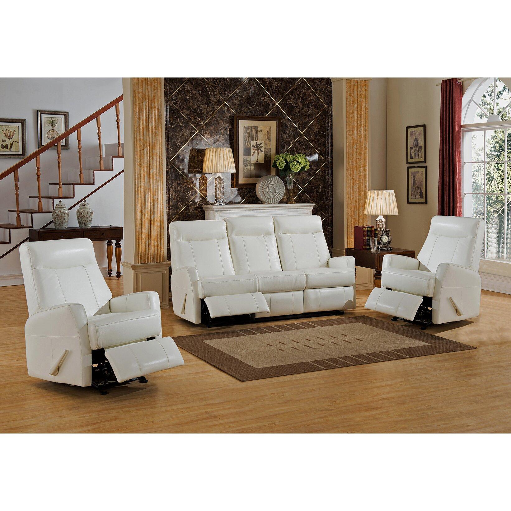 amax toledo 3 piece leather living room set wayfair. Black Bedroom Furniture Sets. Home Design Ideas