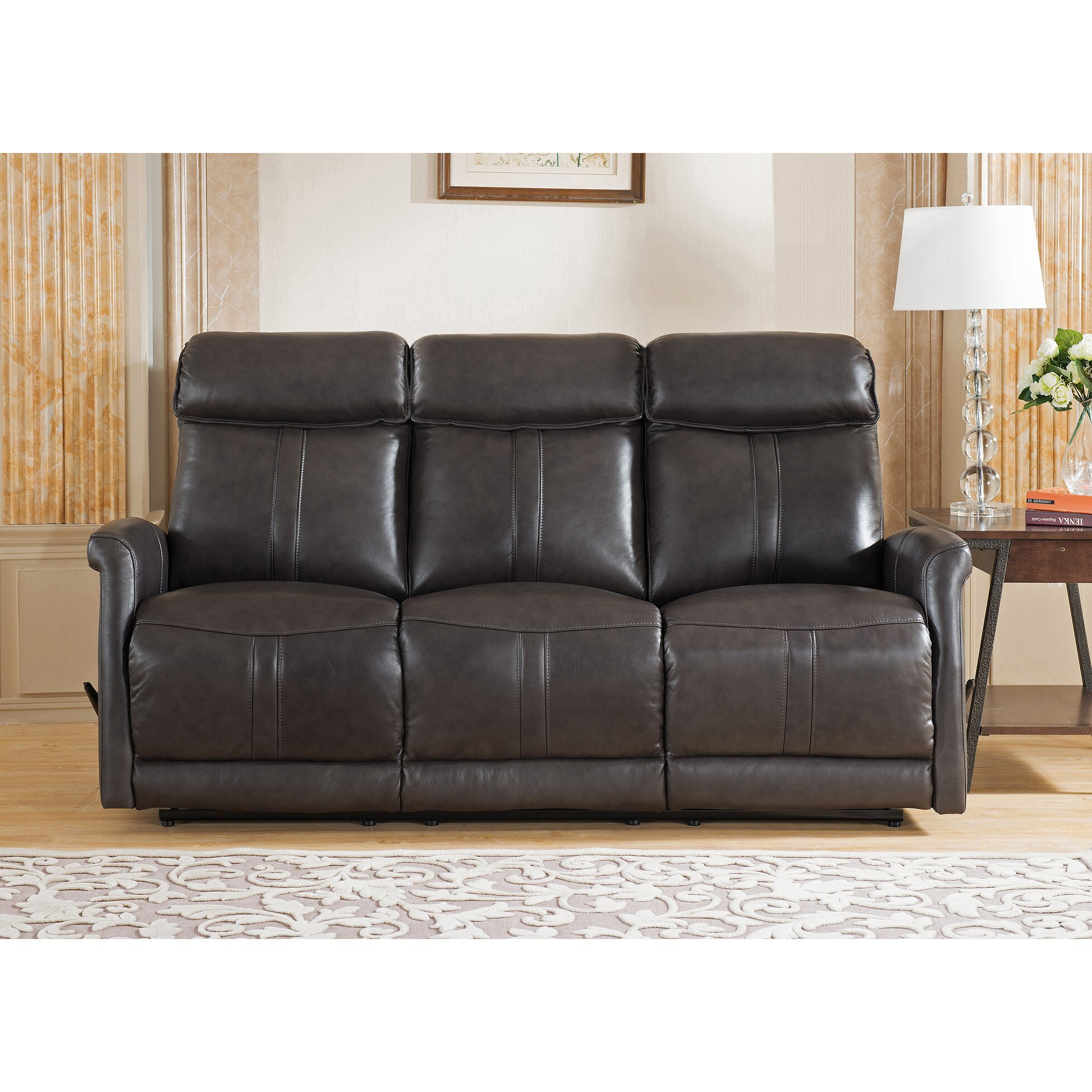 Amax mosby 3 piece leather living room set wayfair for Three piece living room set